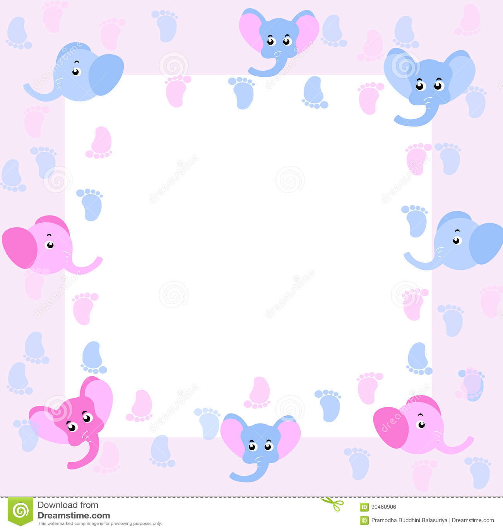 Marco del beb con los elefantes del beb ilustraci n del - Fotos de elefantes bebes ...