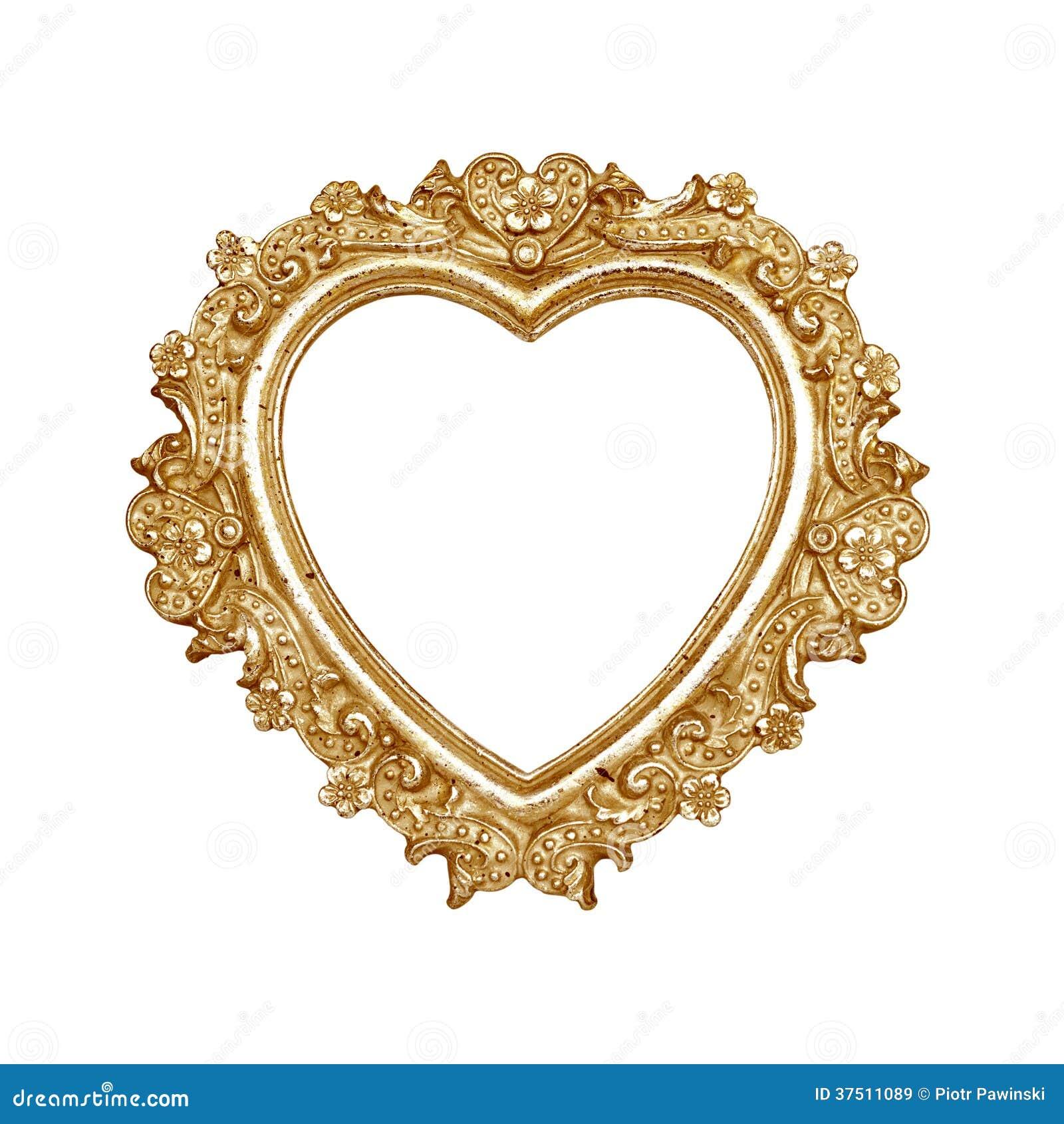 Marco del corazón del oro viejo