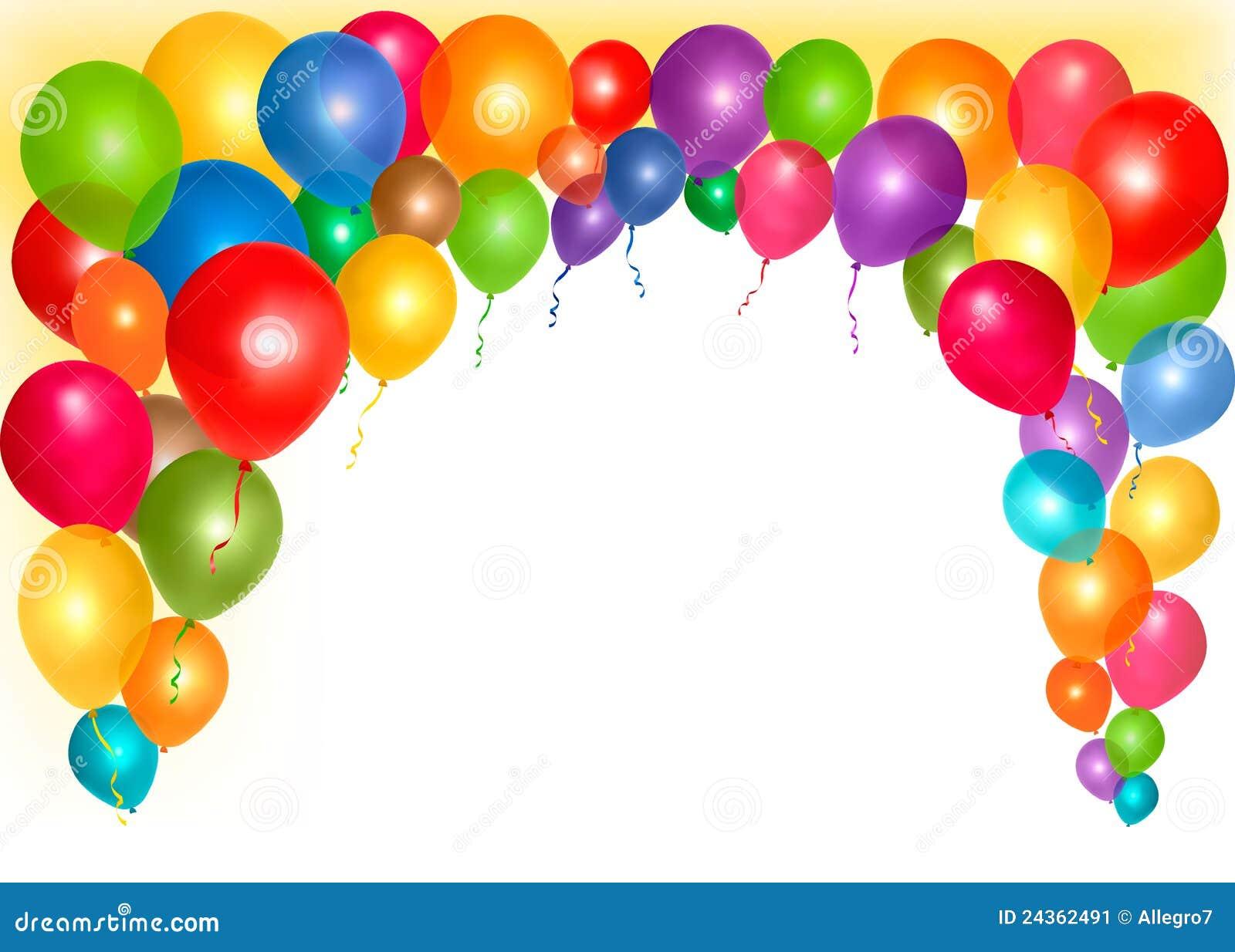 Marco del d a de fiesta con los globos coloridos - Globos para eventos ...