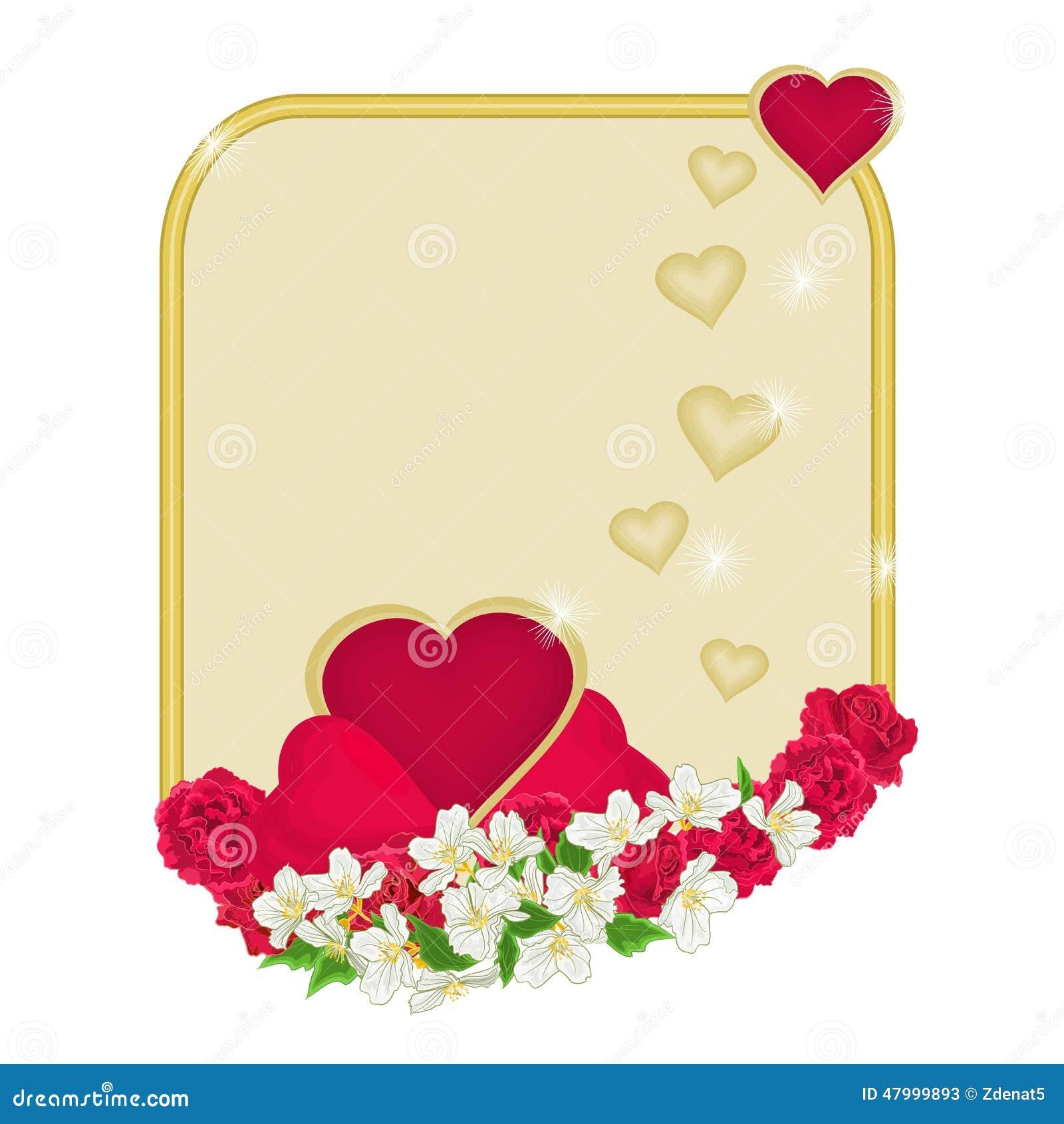 0d642ed5ed317 Marco del día de tarjeta del día de San Valentín de corazones con vector del  fondo