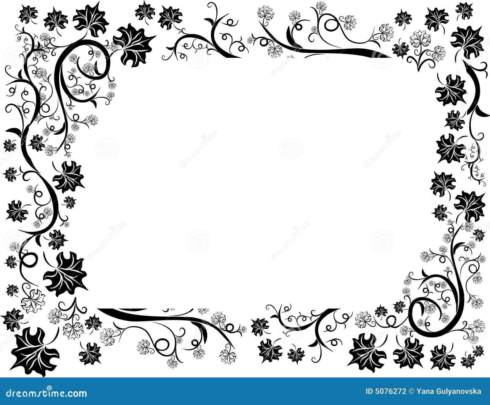 Marco Del Diseño De Las Hojas Florales Ilustración del Vector ...