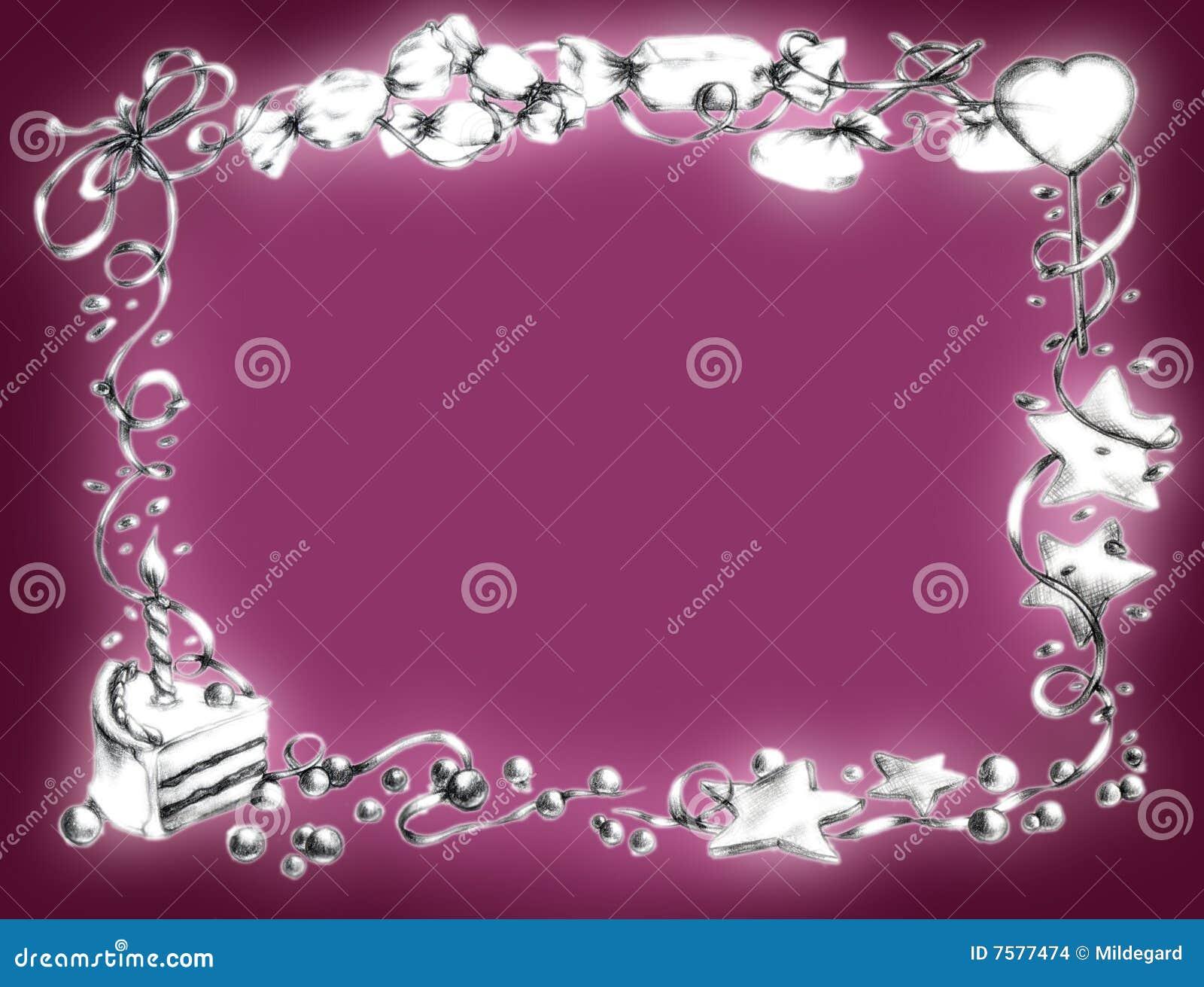 Marco Del Feliz Cumpleaños - Color De Rosa Stock de ilustración ...