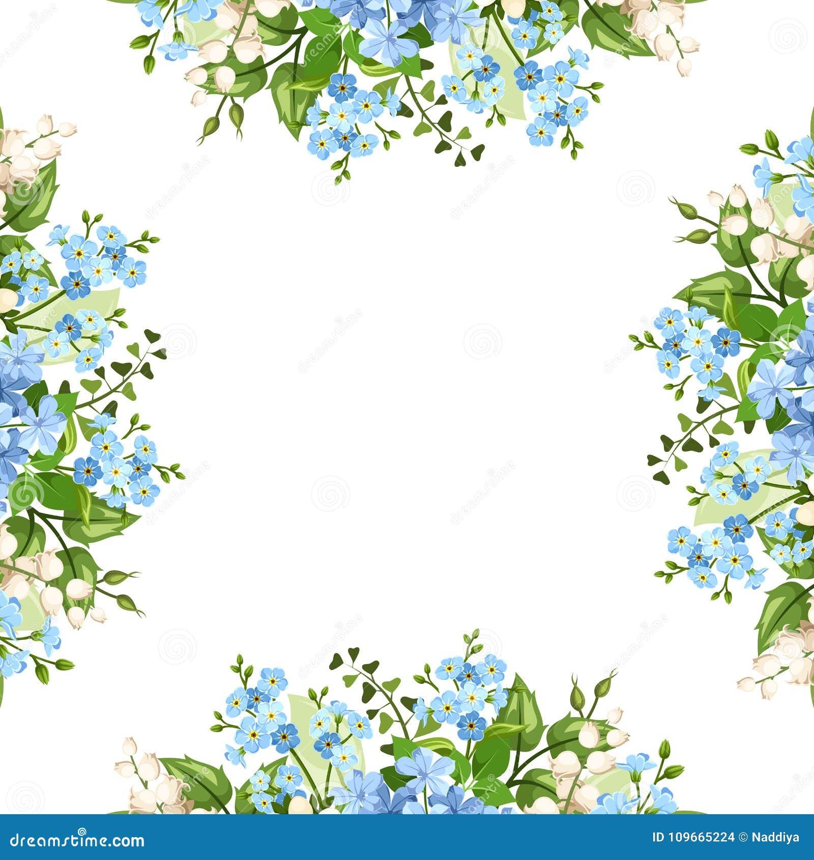 Marco Del Fondo Con Las Flores Azules Y Blancas Ilustracion Del