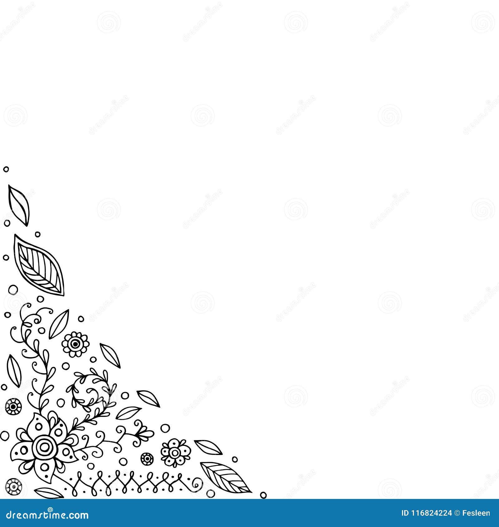 Marco Del Garabato Con Las Flores Y Las Hojas Página Que