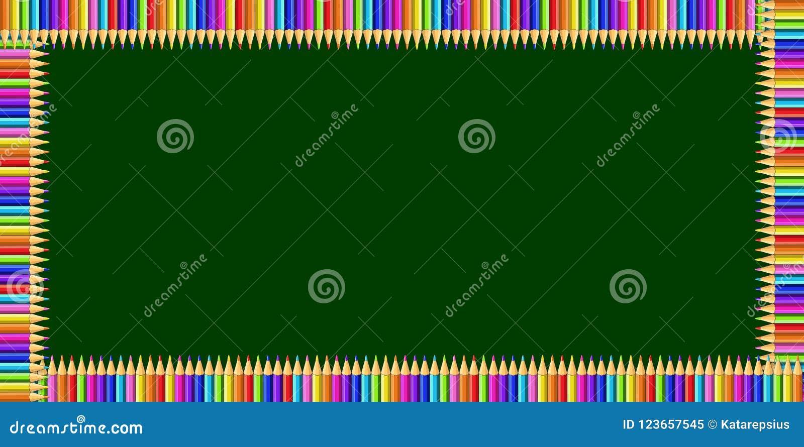 Marco del rectángulo hecho de lápices coloridos en fondo de la pizarra y espacio verdes de la copia