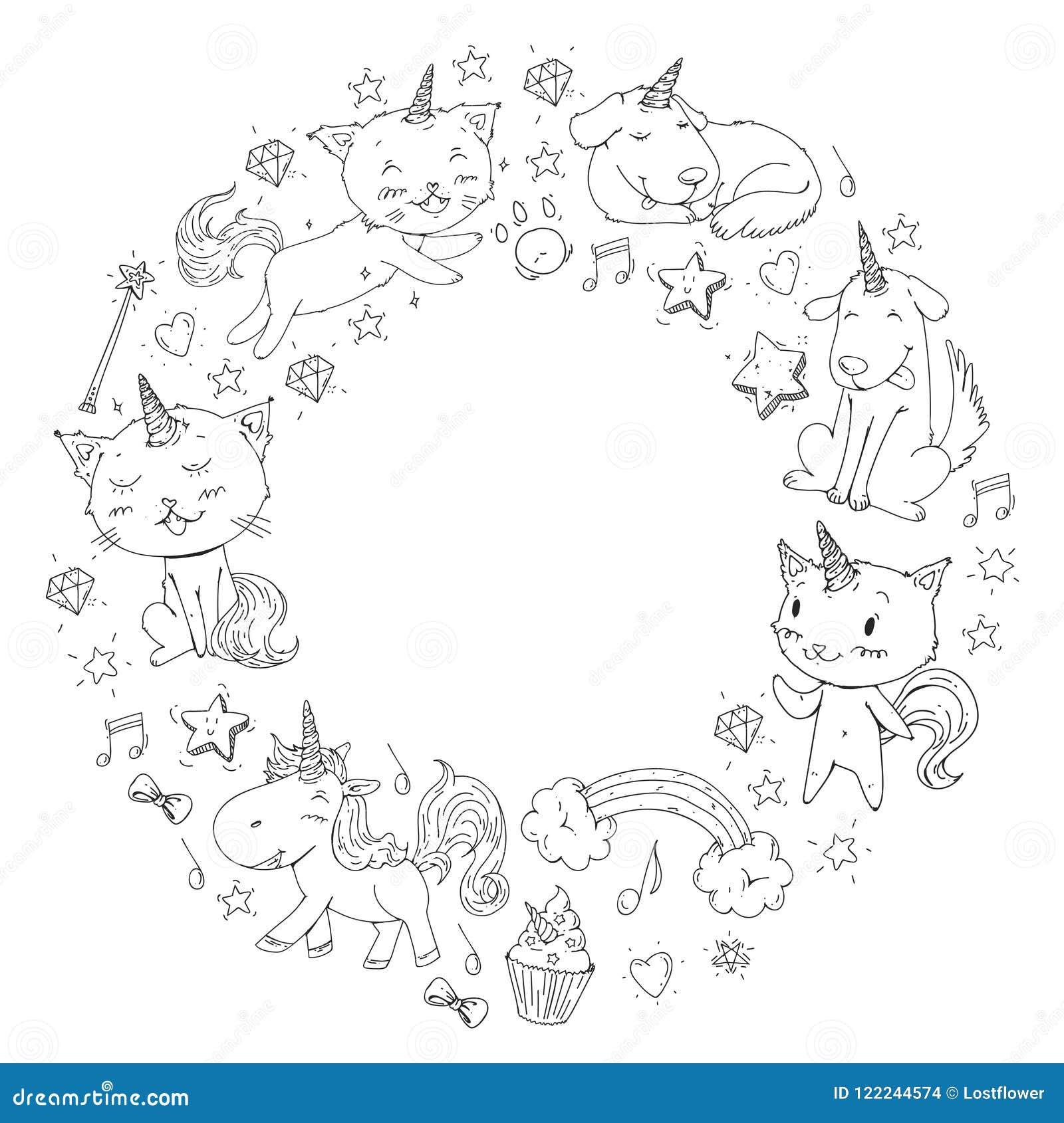Marco Del Unicornio Gatos Perro Caballo Potro Imagen Del Vector