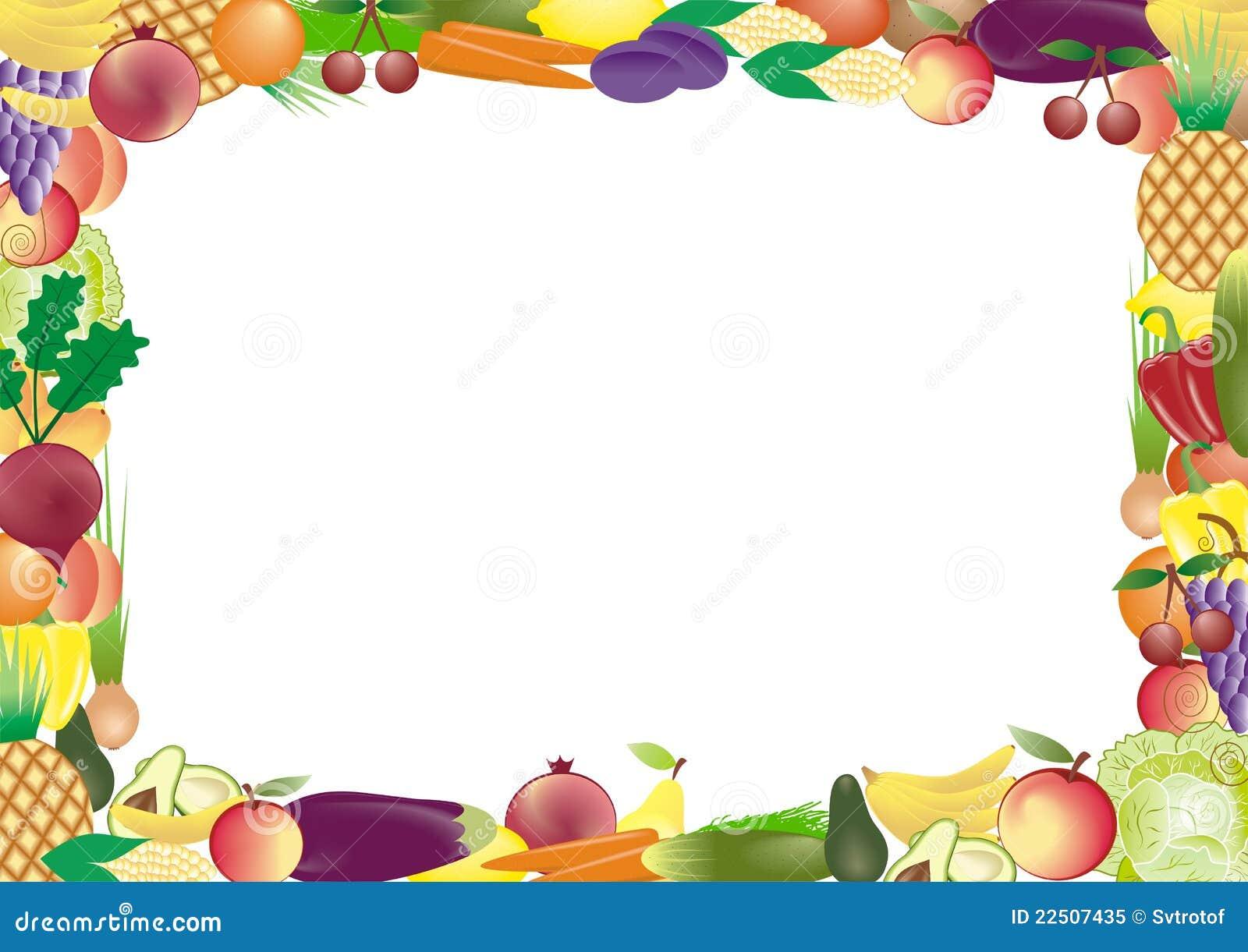 Dibujos Animados Texto Naranja: Marco Del Vector De Las Frutas Y Verdura Foto De Archivo