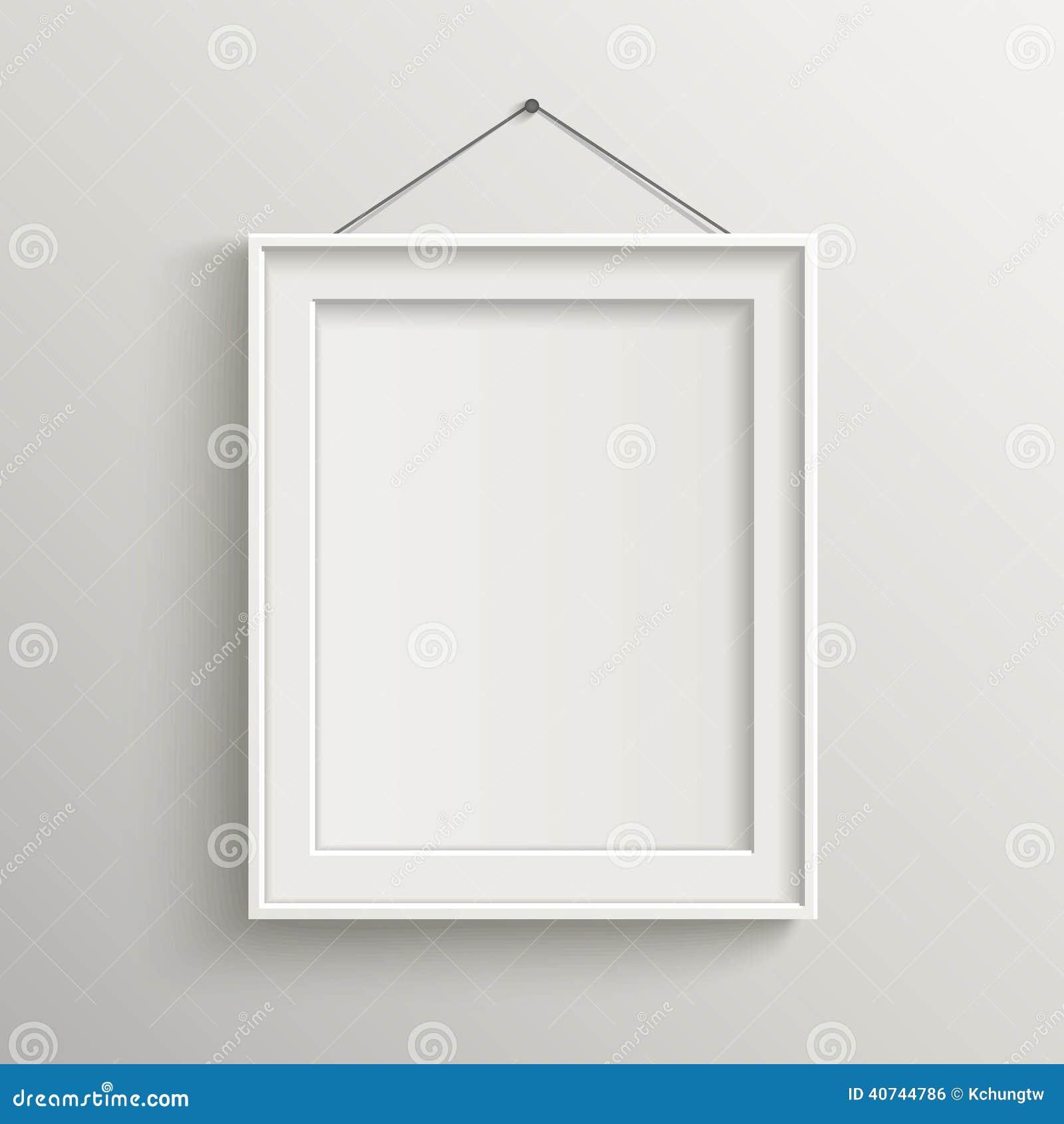 Marco En Blanco En La Pared Blanca Con La Sombra Ilustración del ...