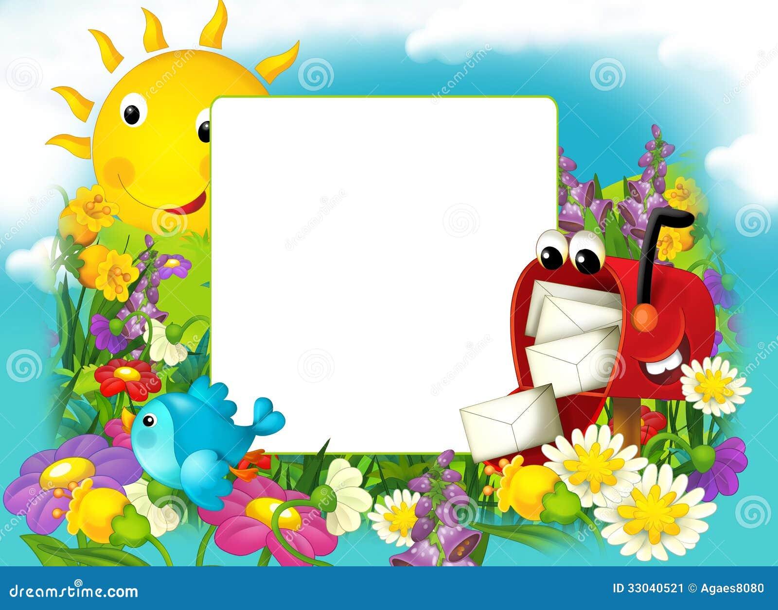 Marco Feliz Y Colorido Para Los Niños Stock de ilustración ...