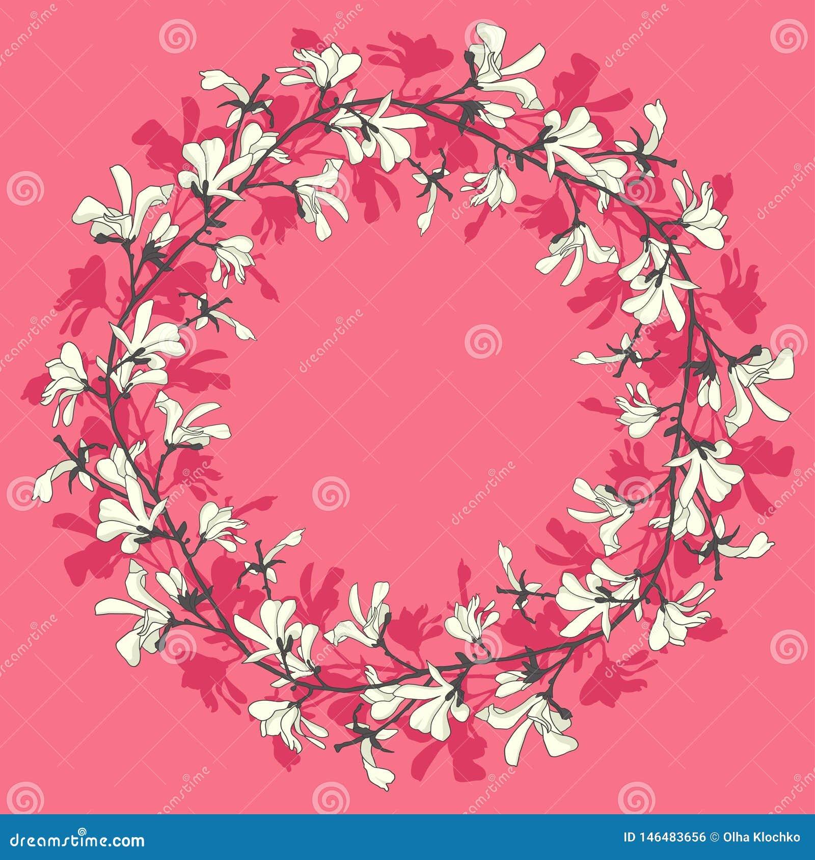 Marco floral con el flor del ?rbol de la magnolia Fondo rosado con la flor de la rama y de la magnolia Dise?o de la guirnalda de