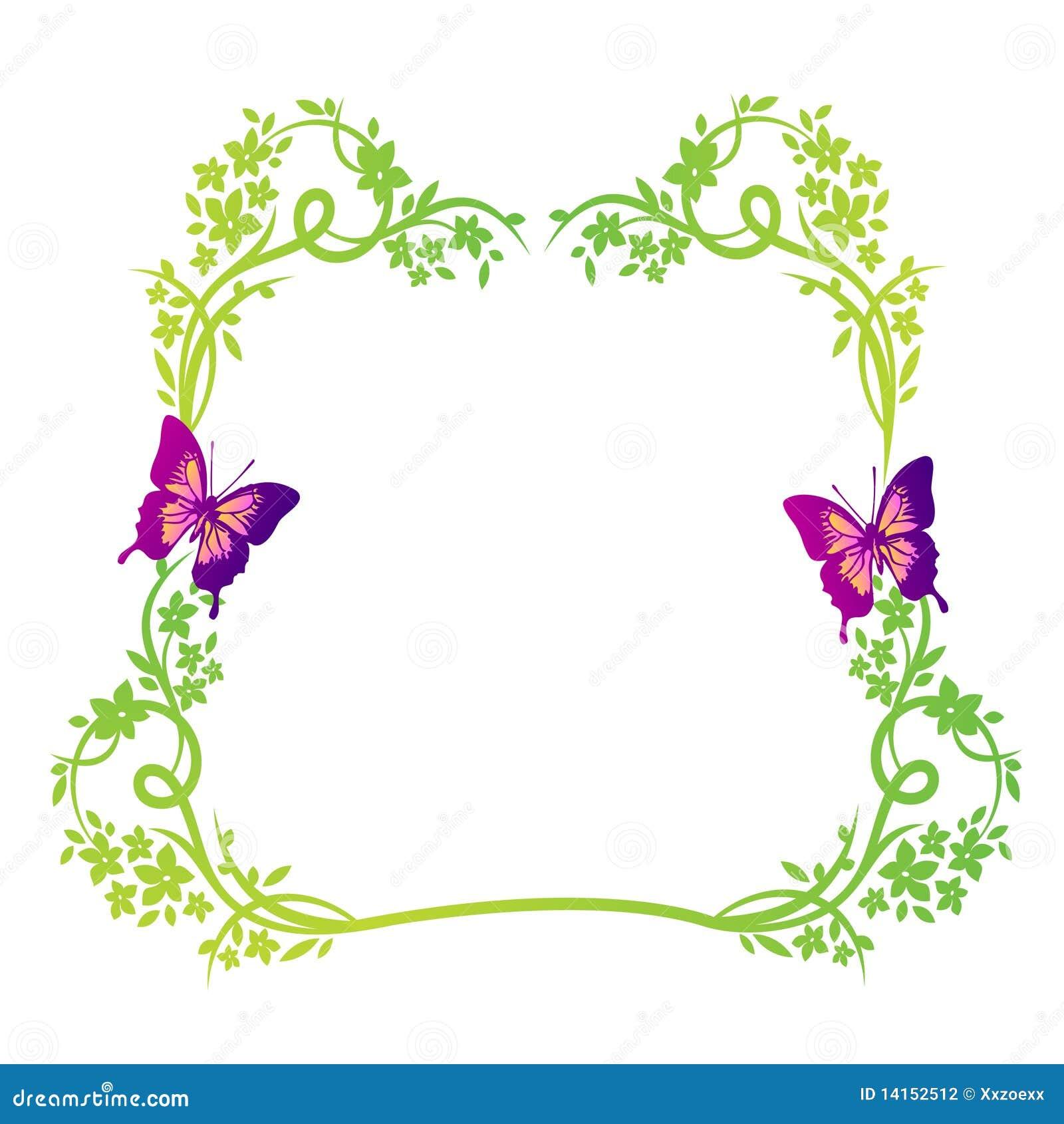Marco Floral De La Naturaleza Con Las Mariposas Ilustración del ...