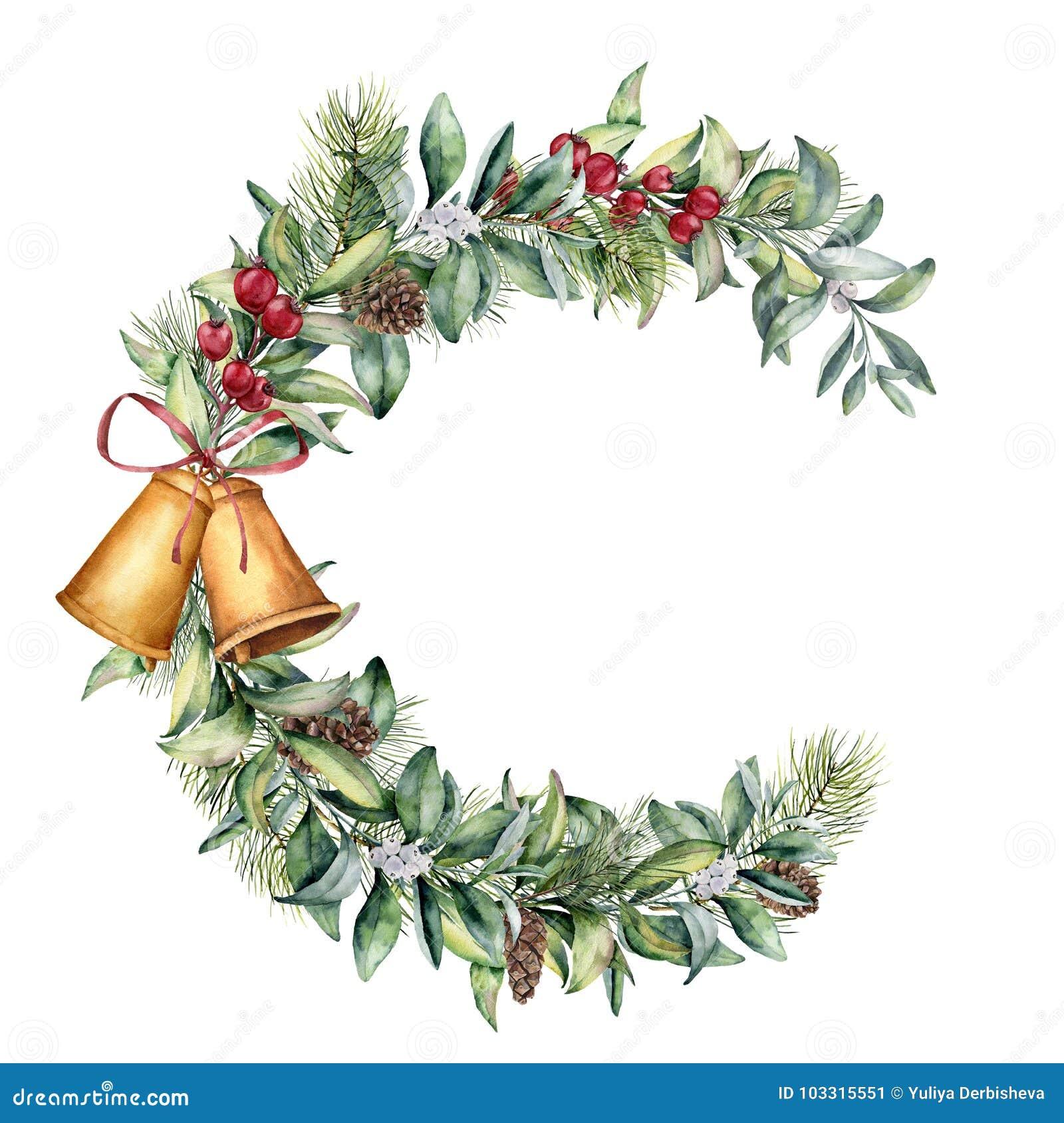 Marco floral de la Navidad de la acuarela La rama floral pintada a mano con las bayas y el abeto ramifican, cono del pino, las ca