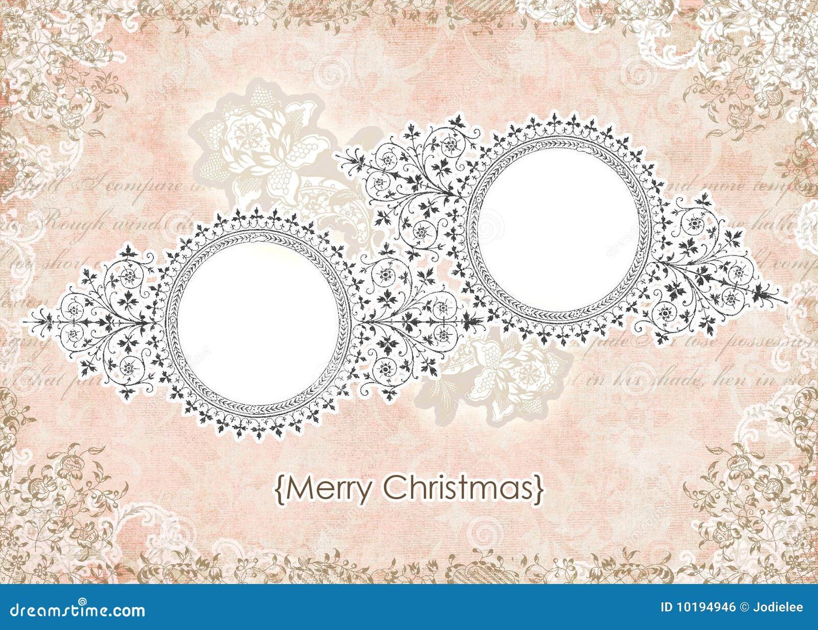 Marco Floral De La Tarjeta De Navidad Del Color De Rosa Lamentable ...