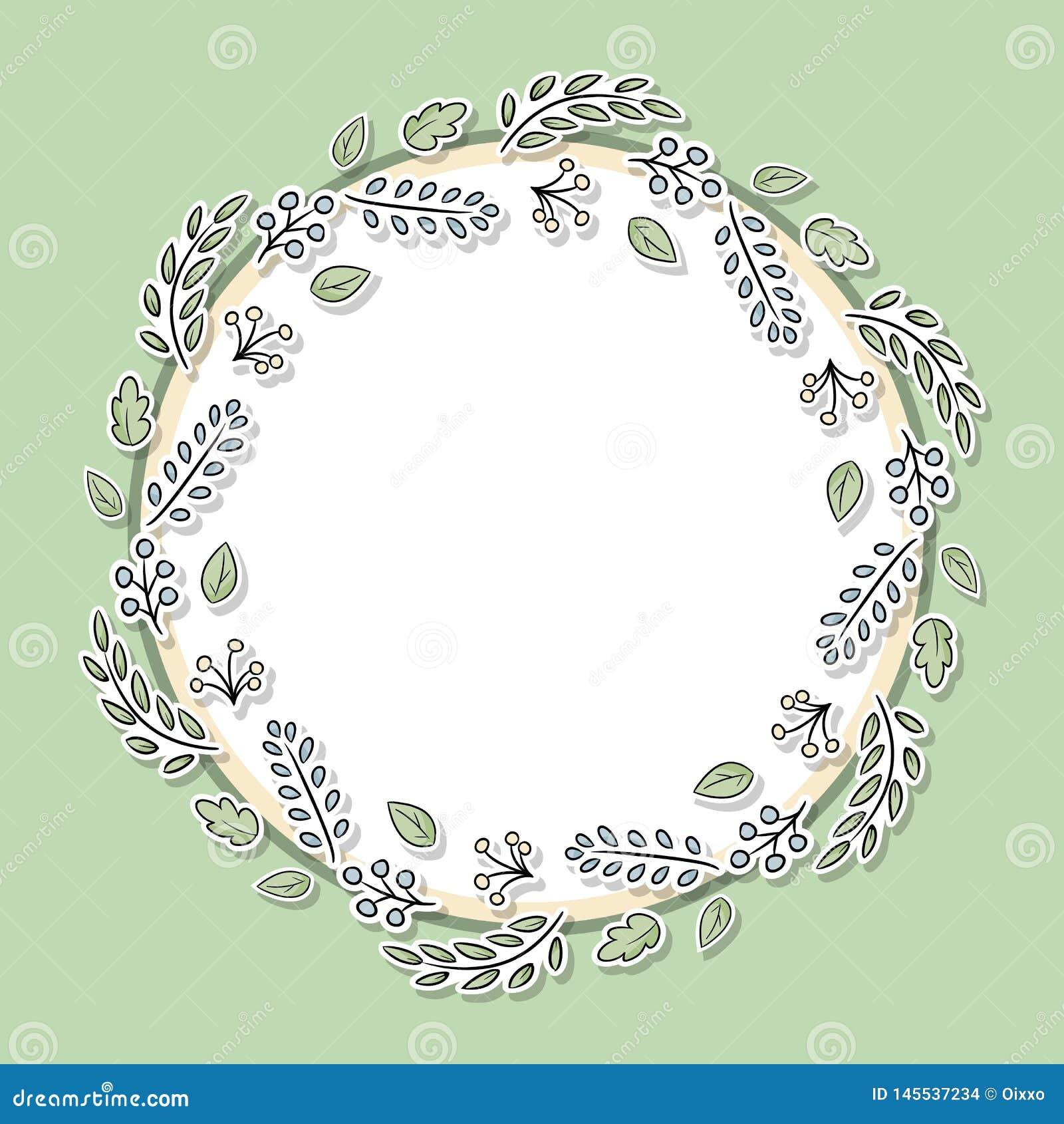 Marco floral decorativo con las hojas y las ramas verdes Los elementos exhaustos de la mano de la historieta para las páginas we