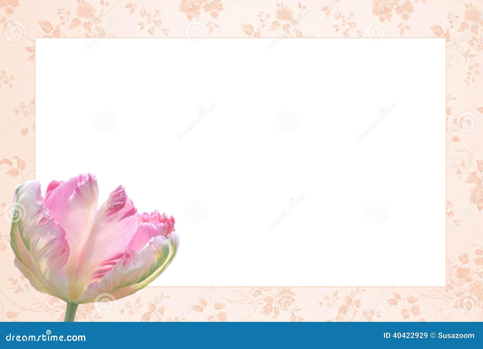 Marco floral nostálgico con la flor hermosa del tulipán tricolora