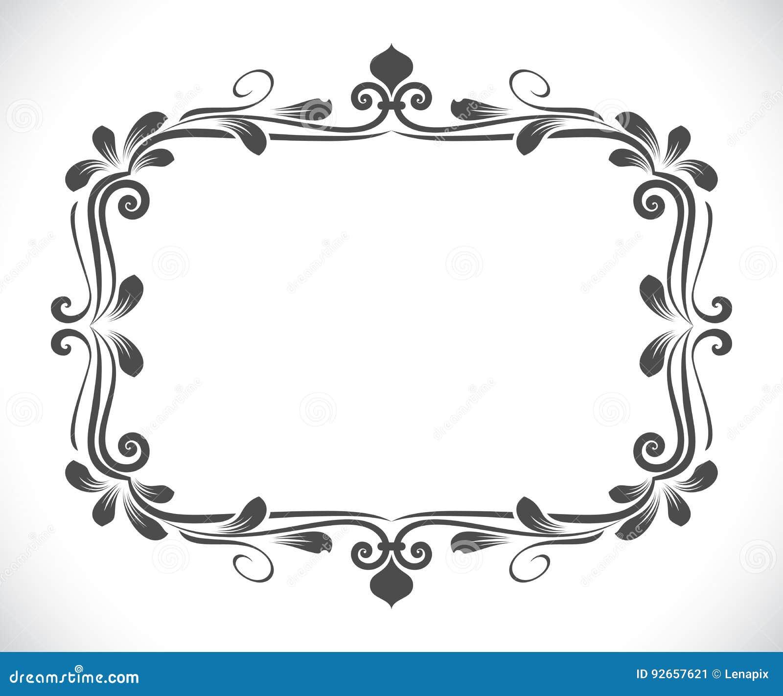 d3964c8f4121f Ejemplo floral rectangular blanco y negro del vector del marco del vintage  con el espacio de la copia