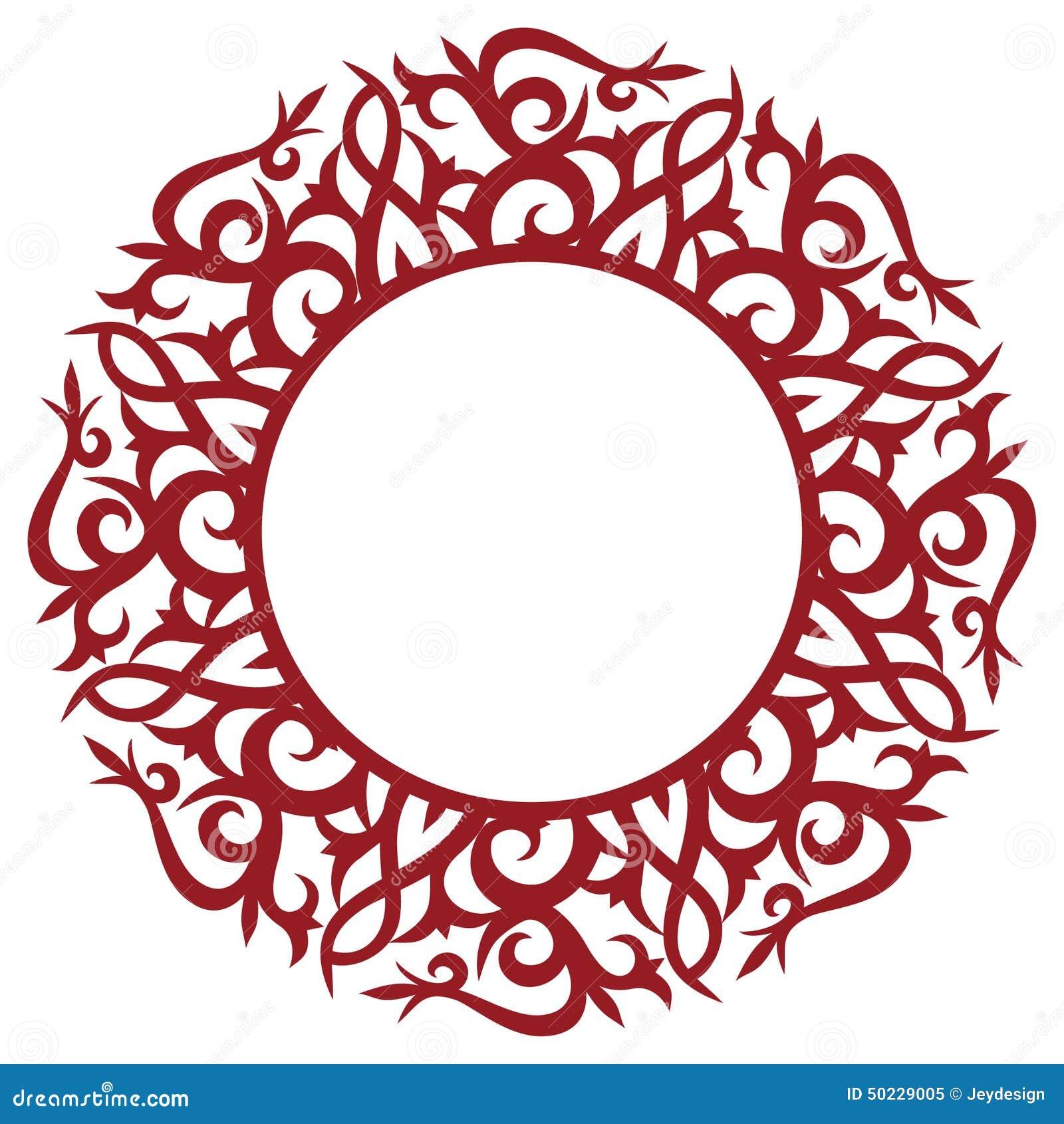 Marco floral redondo ilustración del vector. Ilustración de gráfico ...