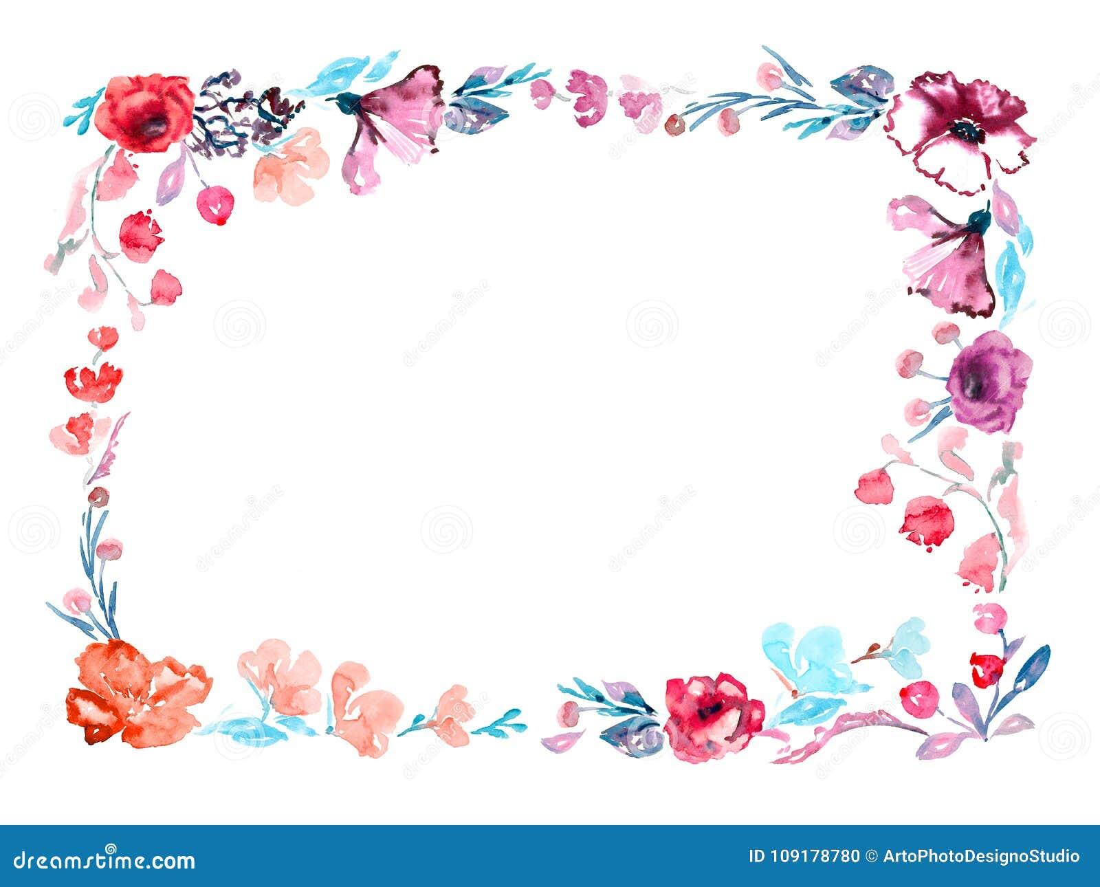 Marco Horizontal De Las Flores De Las Rosas Y Malva, Hojas Del Azul ...