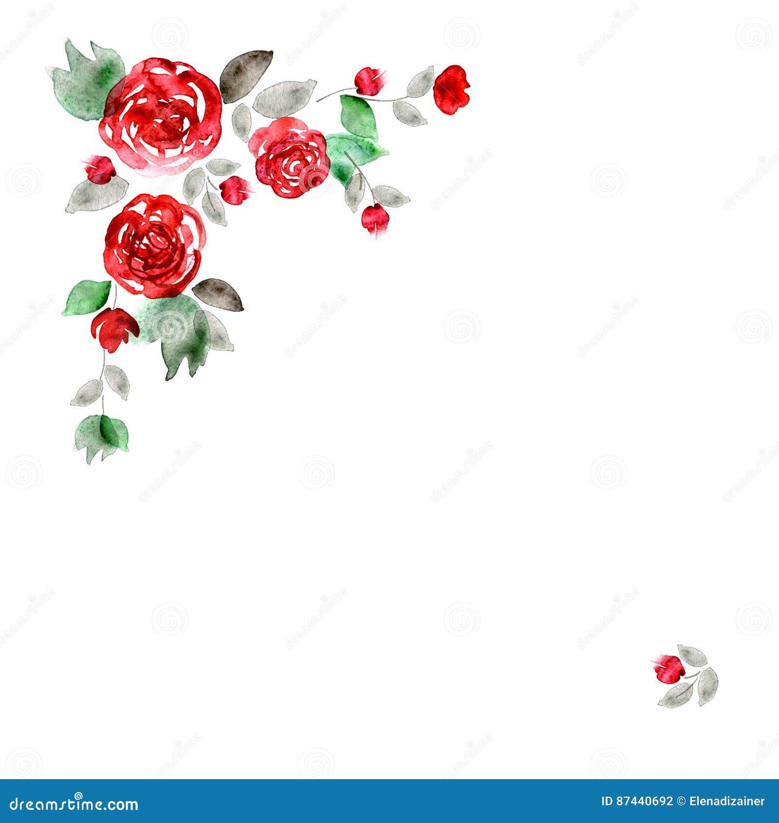 Marco Lindo De La Flor De La Acuarela Fondo Con Las Rosas Rojas ...