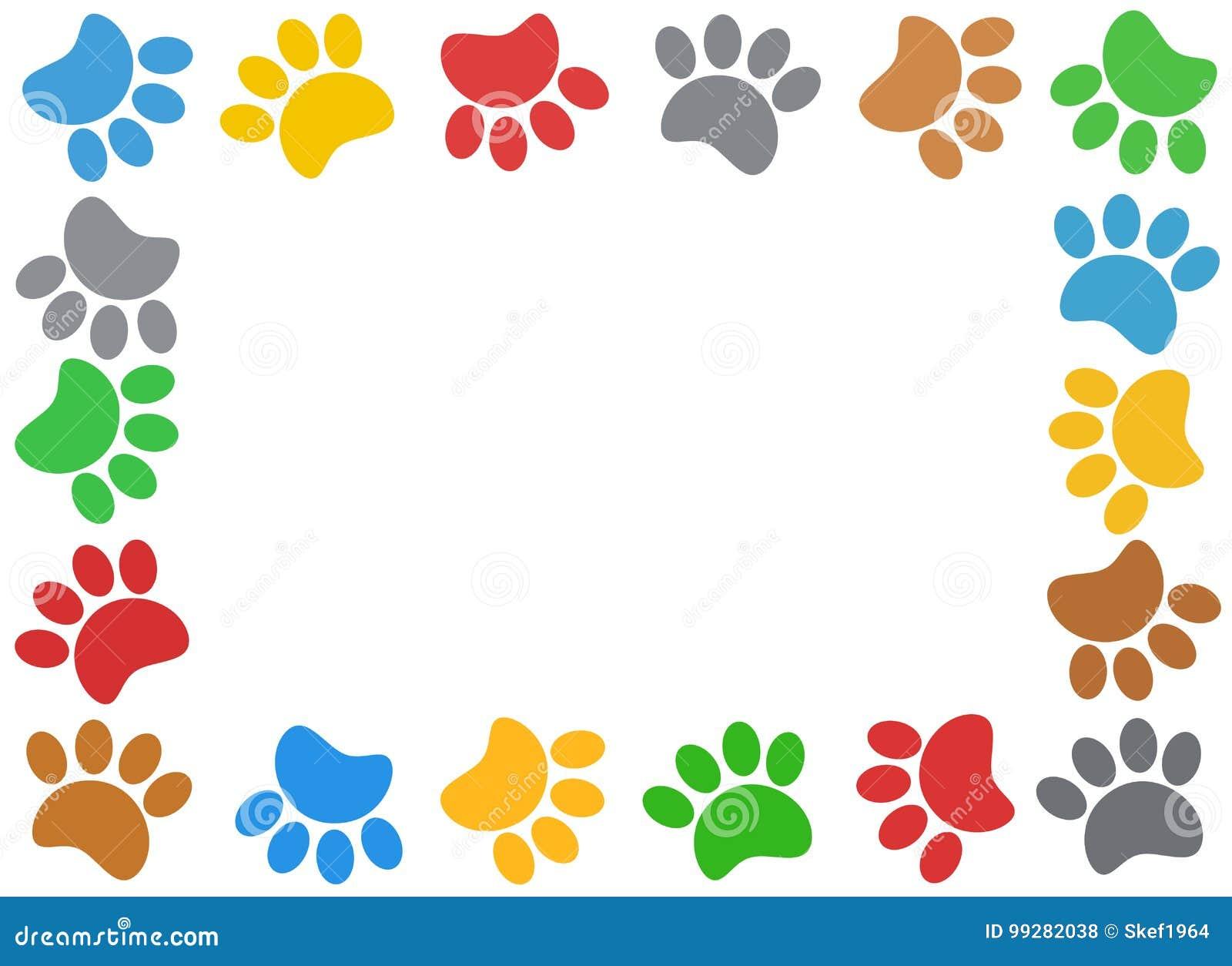 Marco Multicolor Del Animal De La Impresión De La Pata Stock de ...