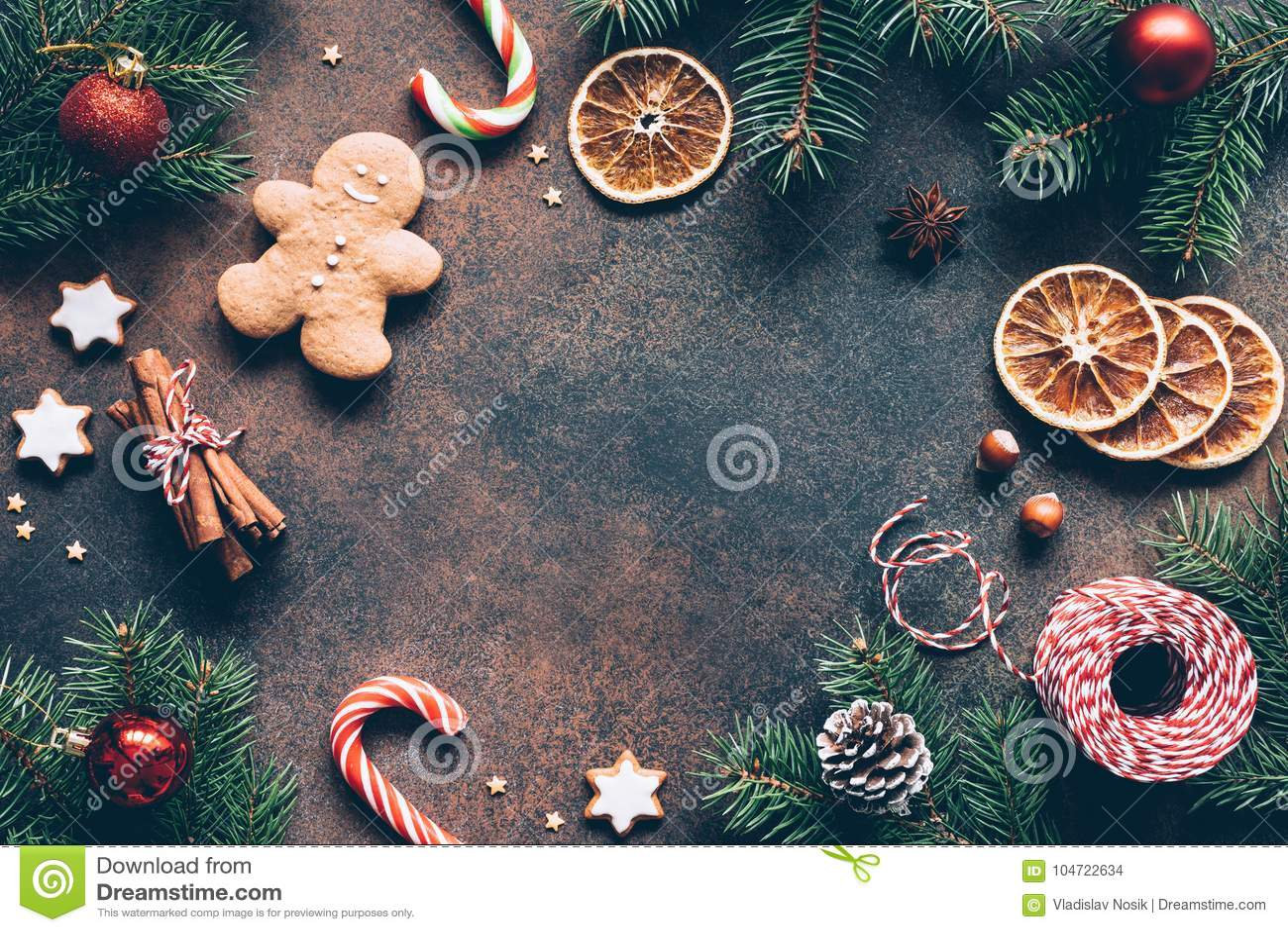 Marcos Para Fotos De Arbol De Navidad.Marco O Fondo De La Navidad Con Las Galletas Del Pan De