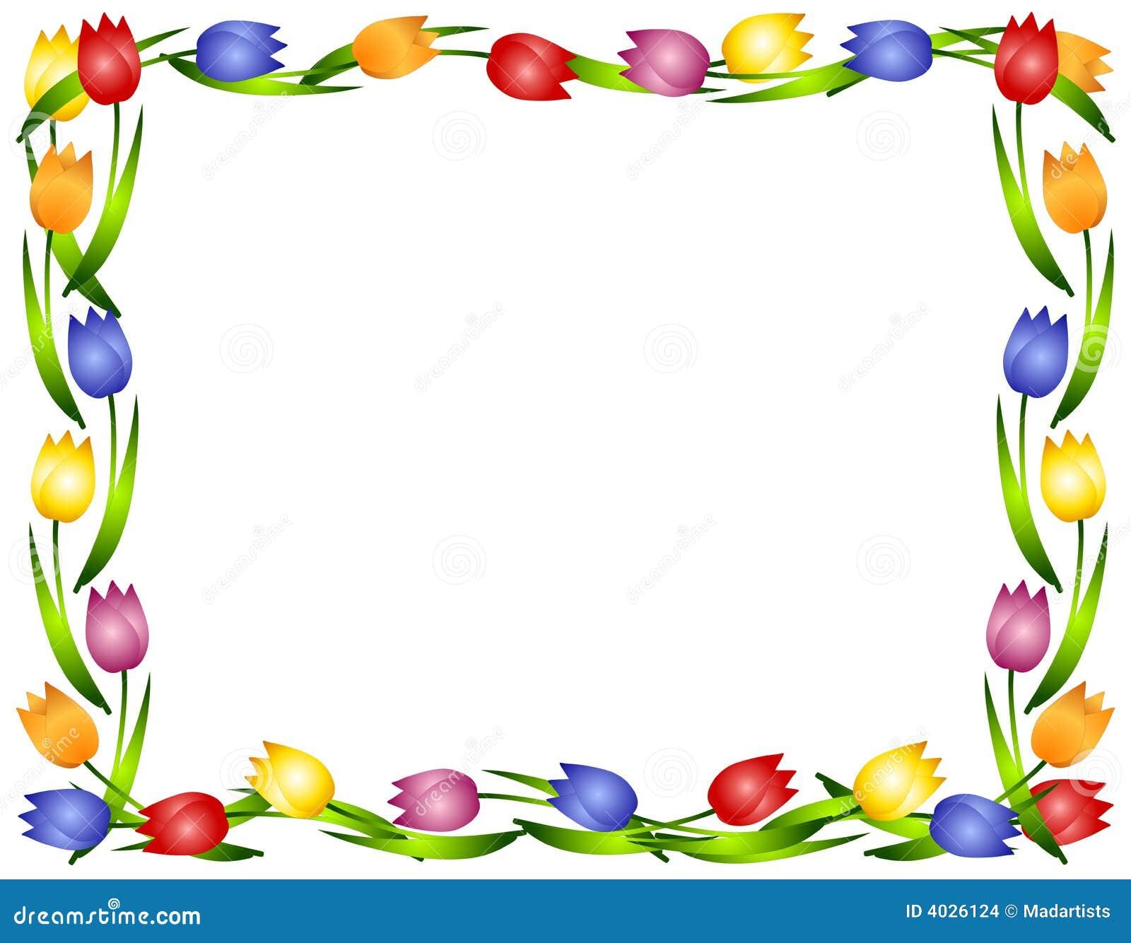 Marco o frontera de la flor de los tulipanes del resorte