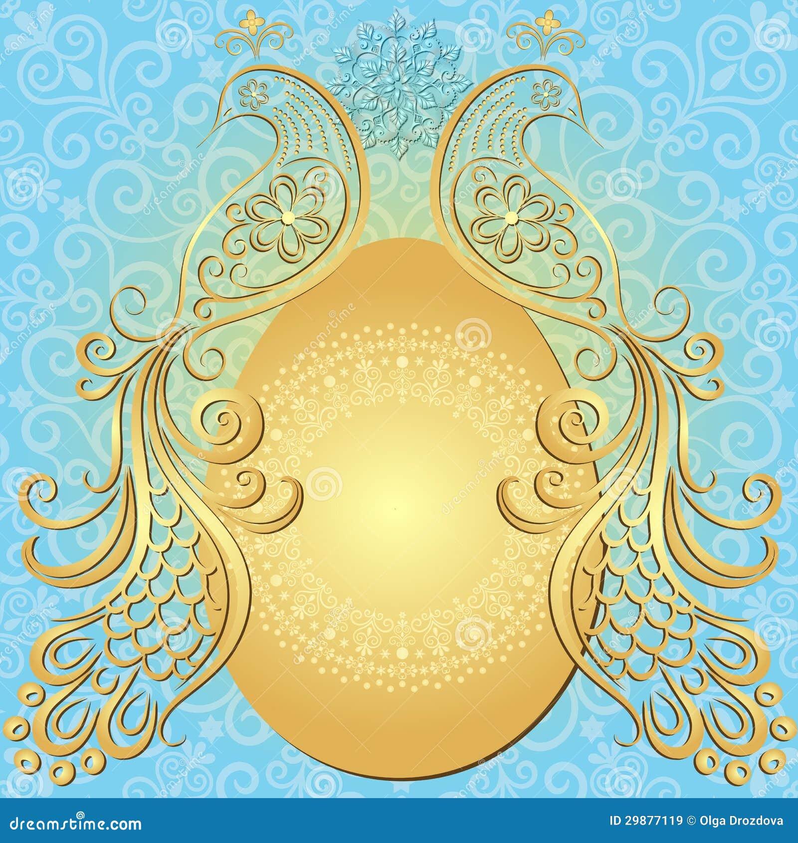 Marco Oro-azul Del Vintage De Pascua Ilustración del Vector ...