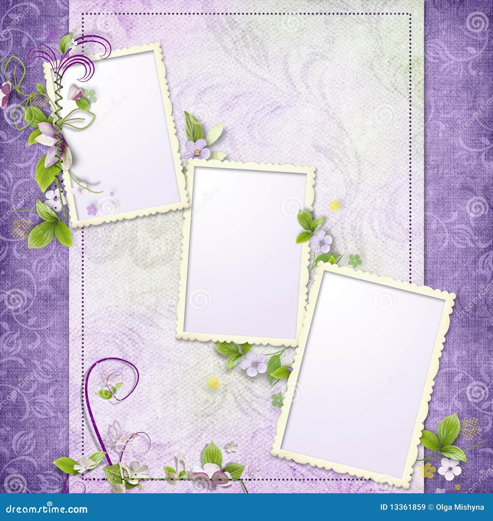 Marco Púrpura Para Tres Fotos Imagen de archivo - Imagen de ...