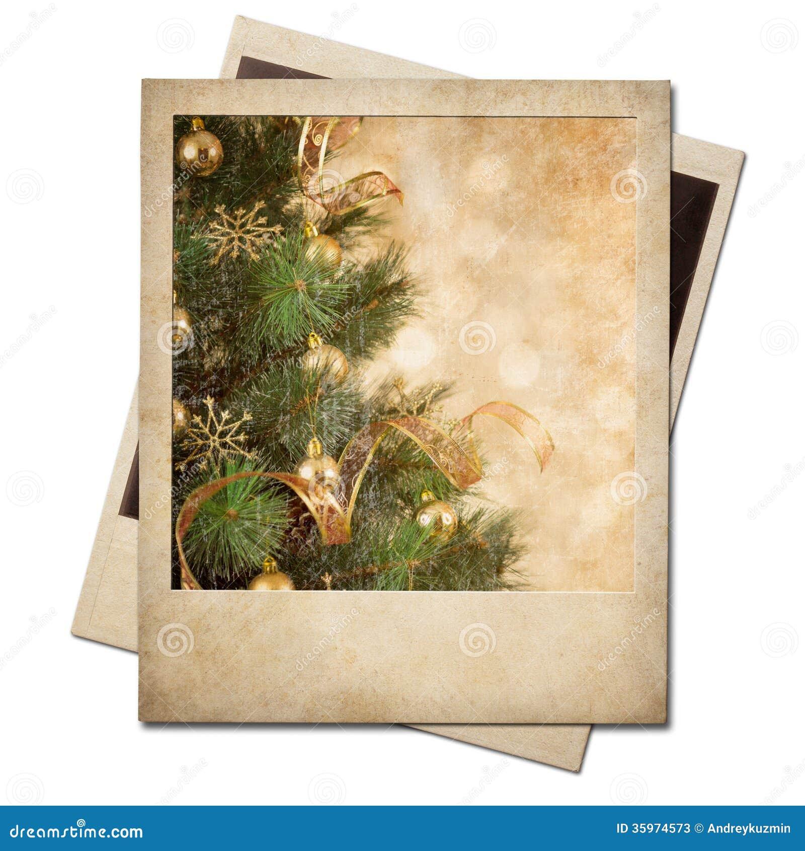Marco polaroid de la foto del árbol de navidad viejo