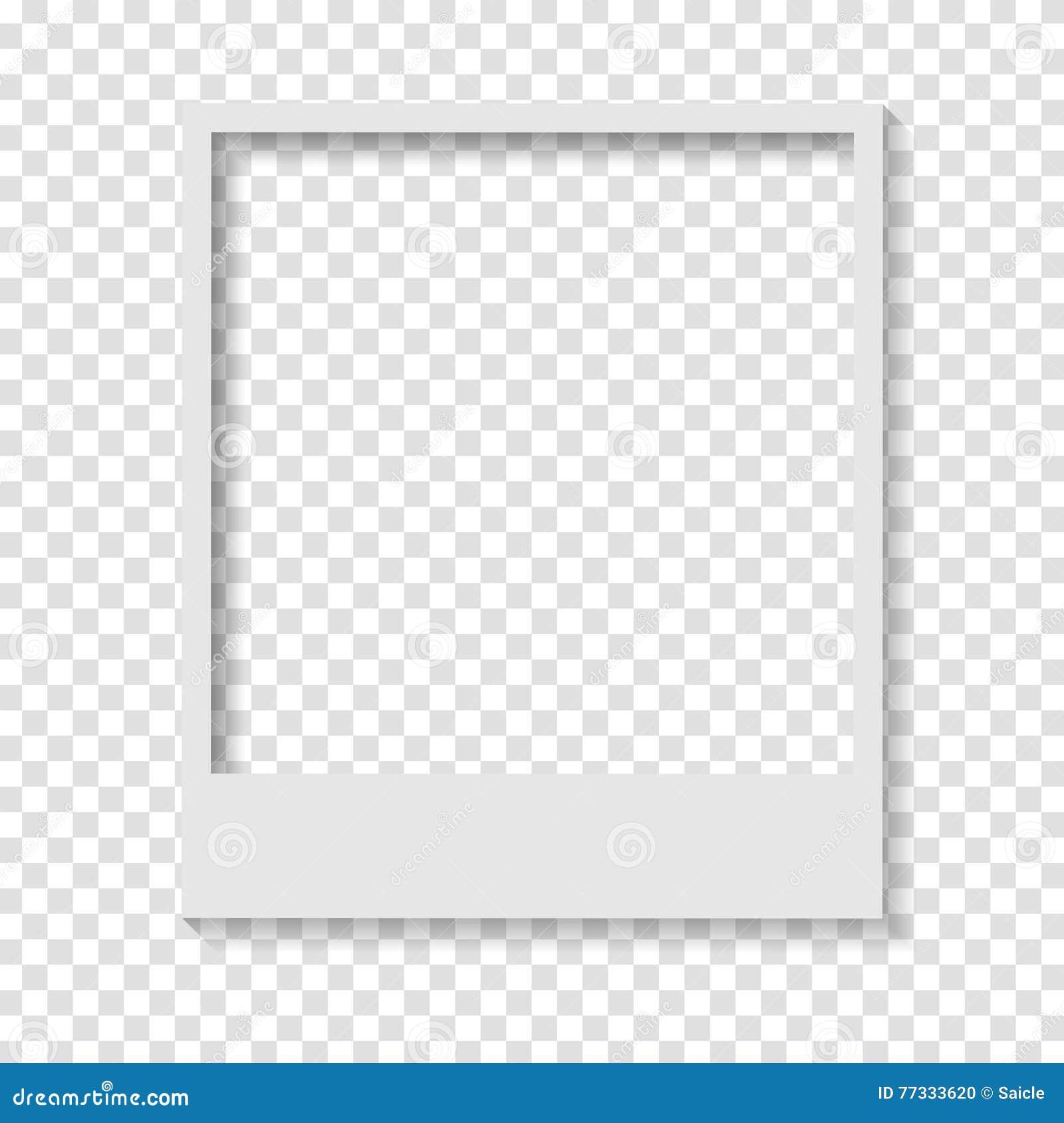 Marco polaroid de la foto del papel transparente en blanco