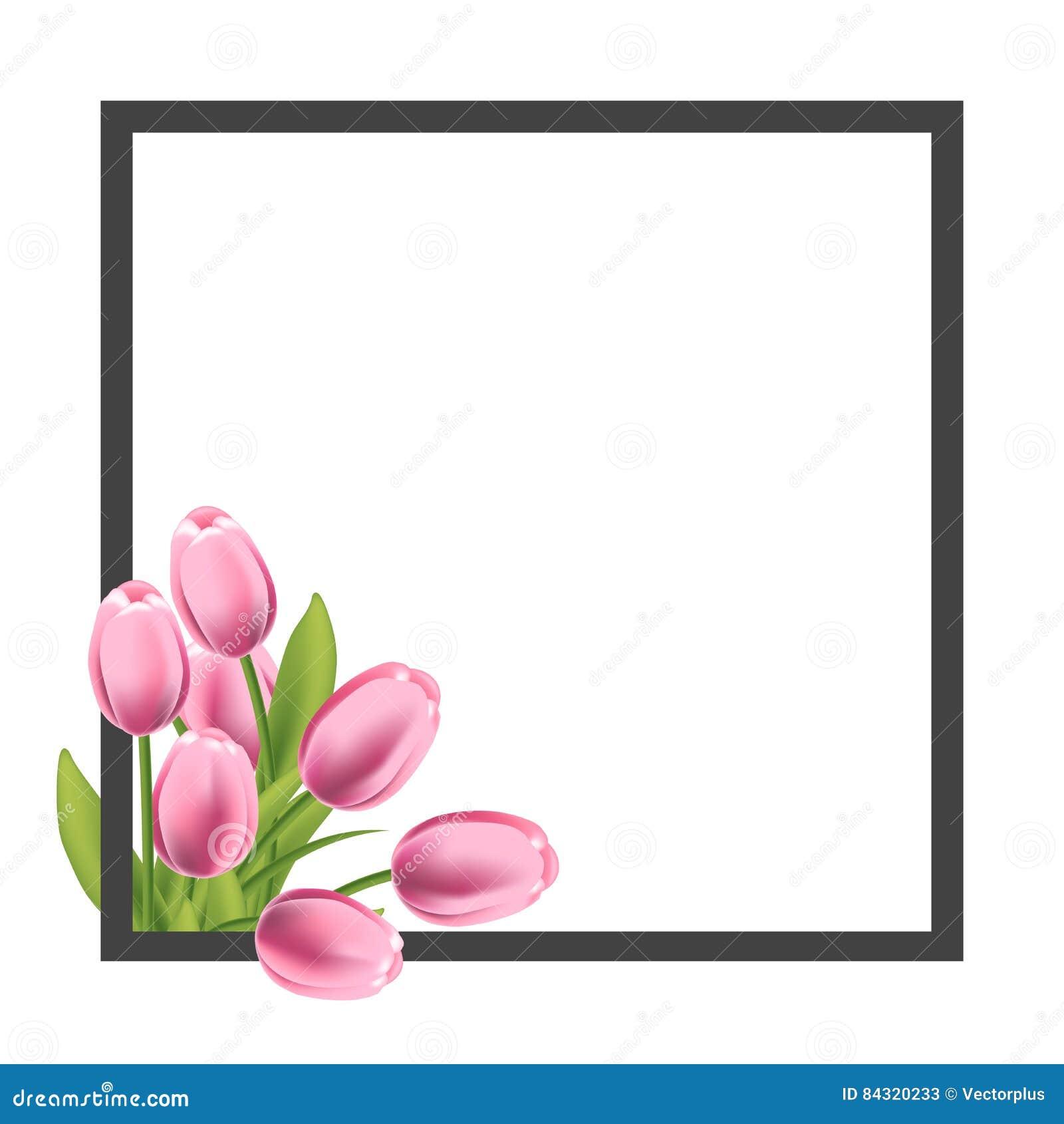 Marco Realista De La Flor De Los Tulipanes Plantilla En Blanco Para ...
