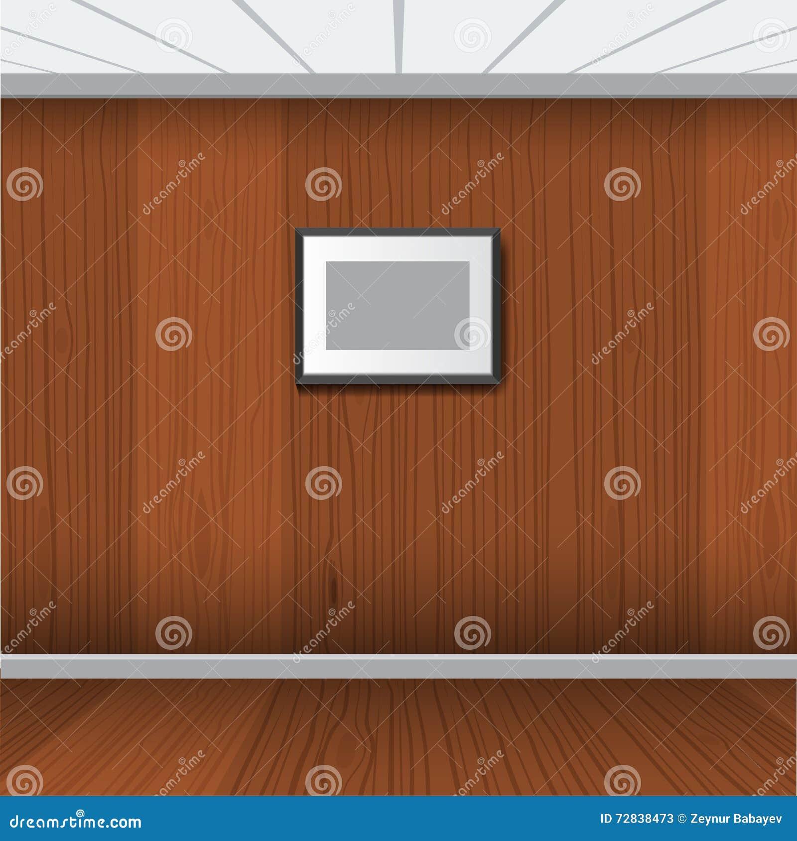 Marco realista de la foto con el sitio interior de madera Ilustración del vector