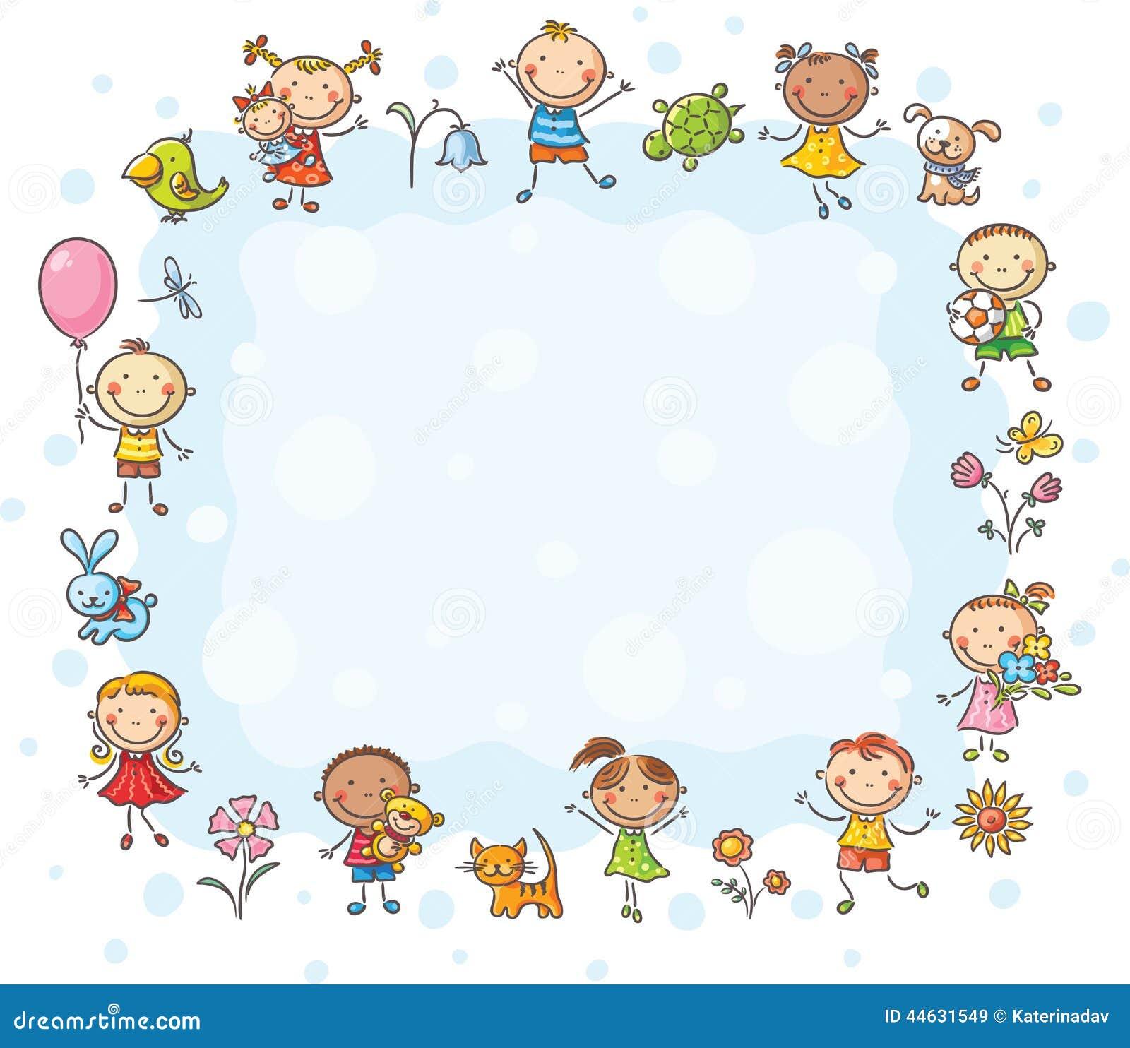 Stock De Ilustraci%C3%B3n Marco Rectangular Con Los Ni%C3%B1os Y Las Flores Image44631549 on Preschool Clip