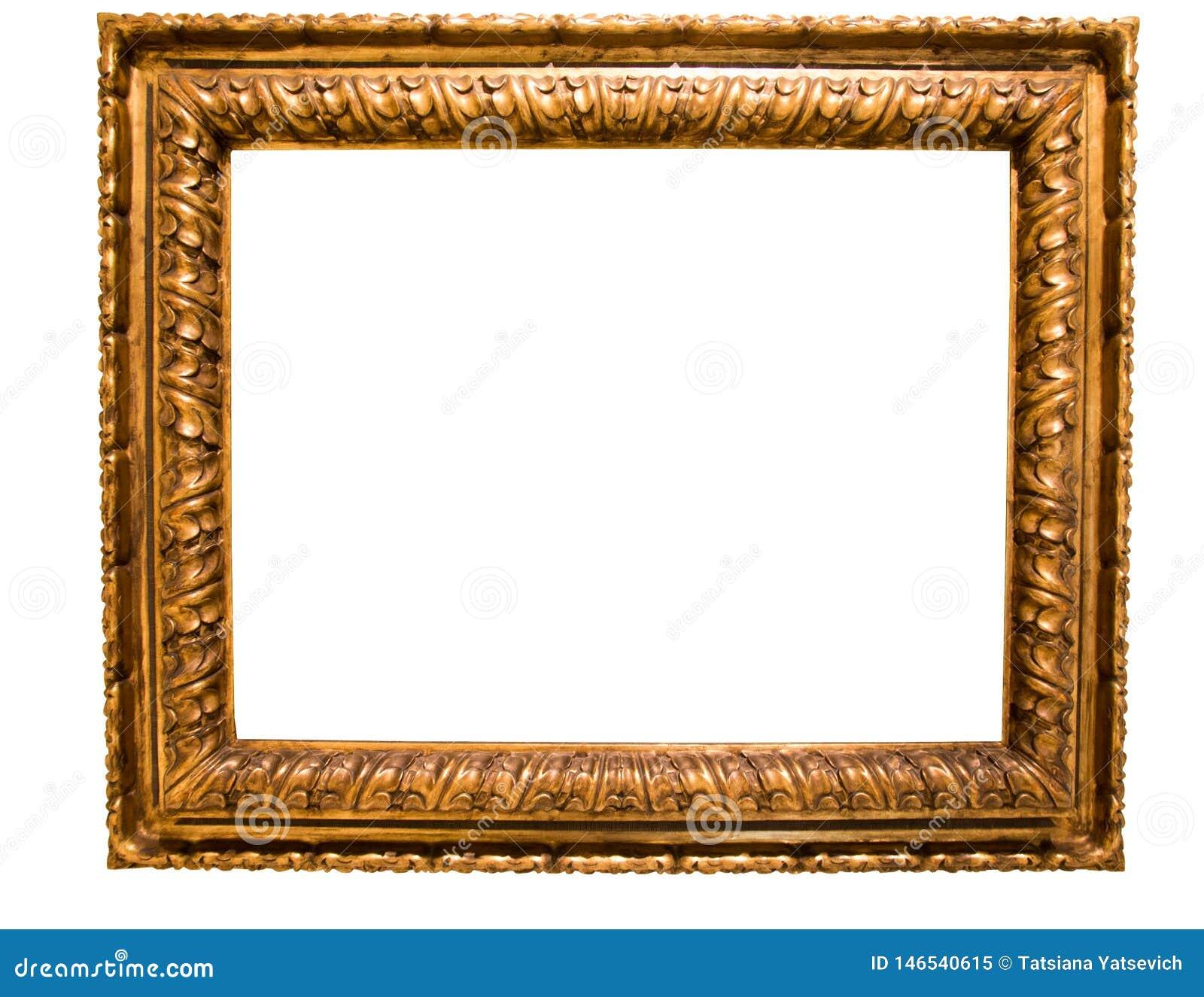 Marco rectangular de oro retro para la fotograf?a en fondo aislado