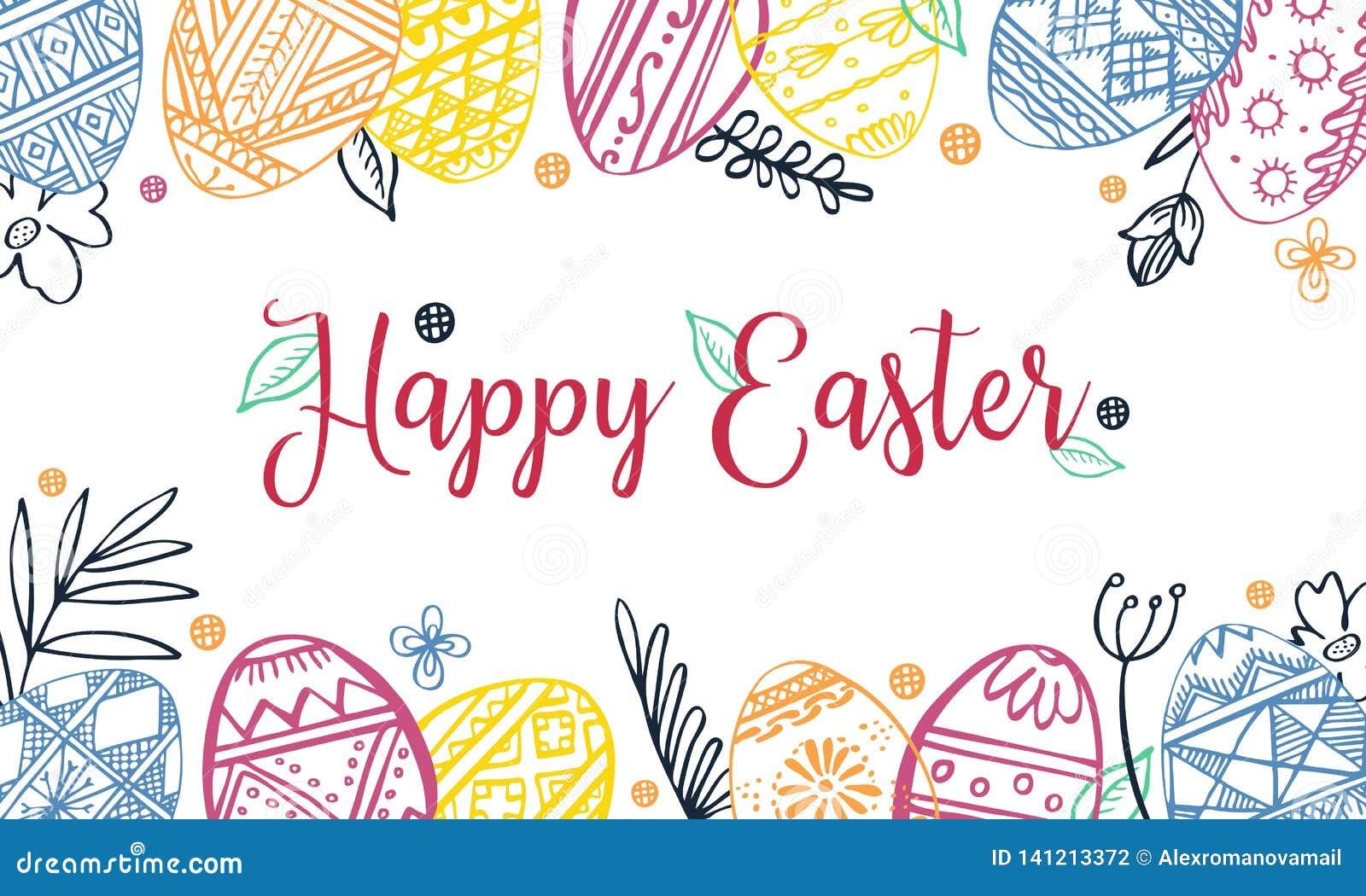 Marco rectangular del color de los huevos de Pascua con las plantas y el saludo Ejemplo exhausto del bosquejo del vector de la ti