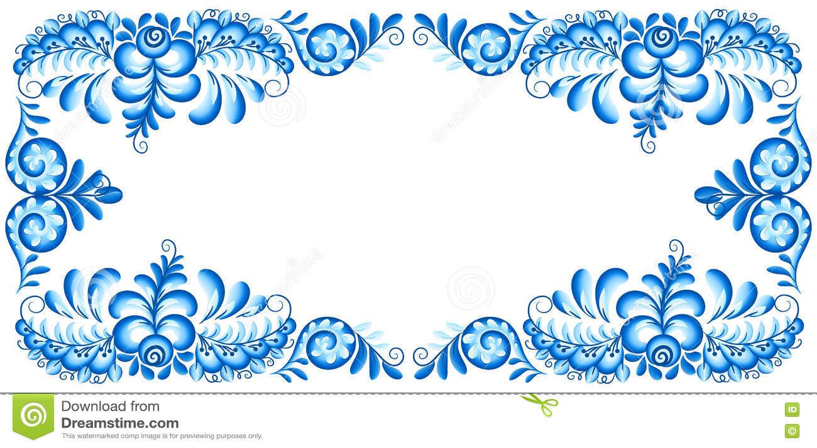 98be776530b8f Los azules turquesa vector el marco rectangular del vintage en el estilo  ruso del gzhel
