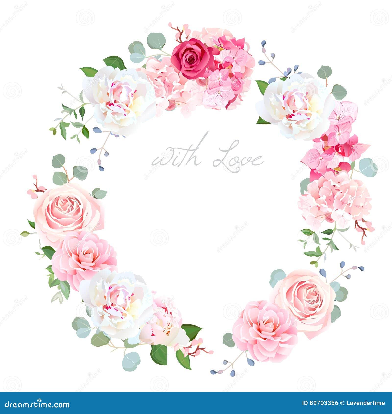 Marco redondo de la boda del diseño floral delicado del vector