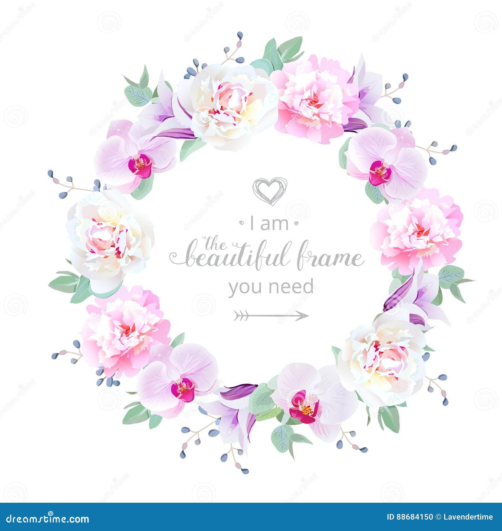 Marco redondo de la boda del diseño floral hermoso del vector