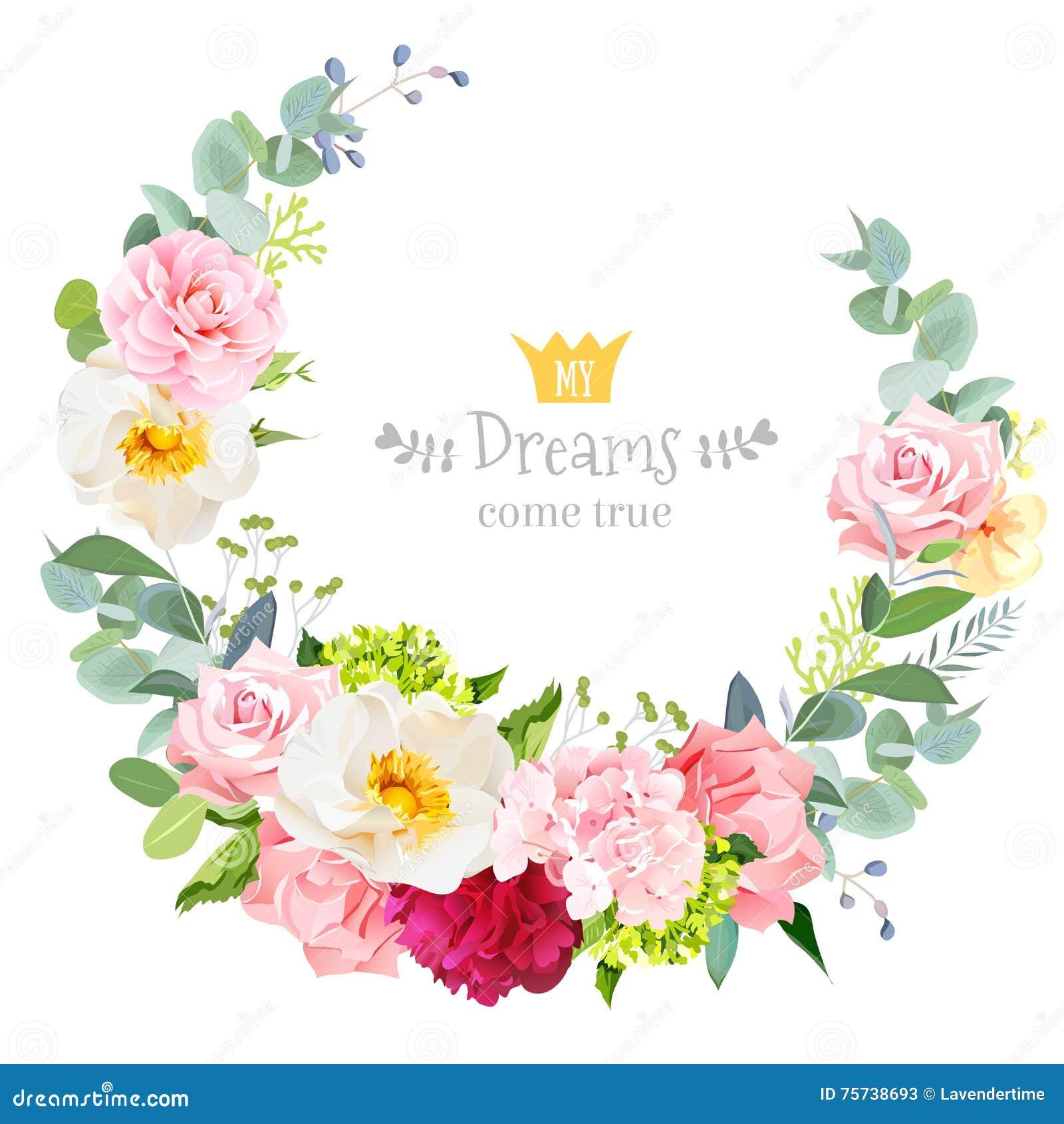 Marco redondo de la boda del diseño floral lindo del vector