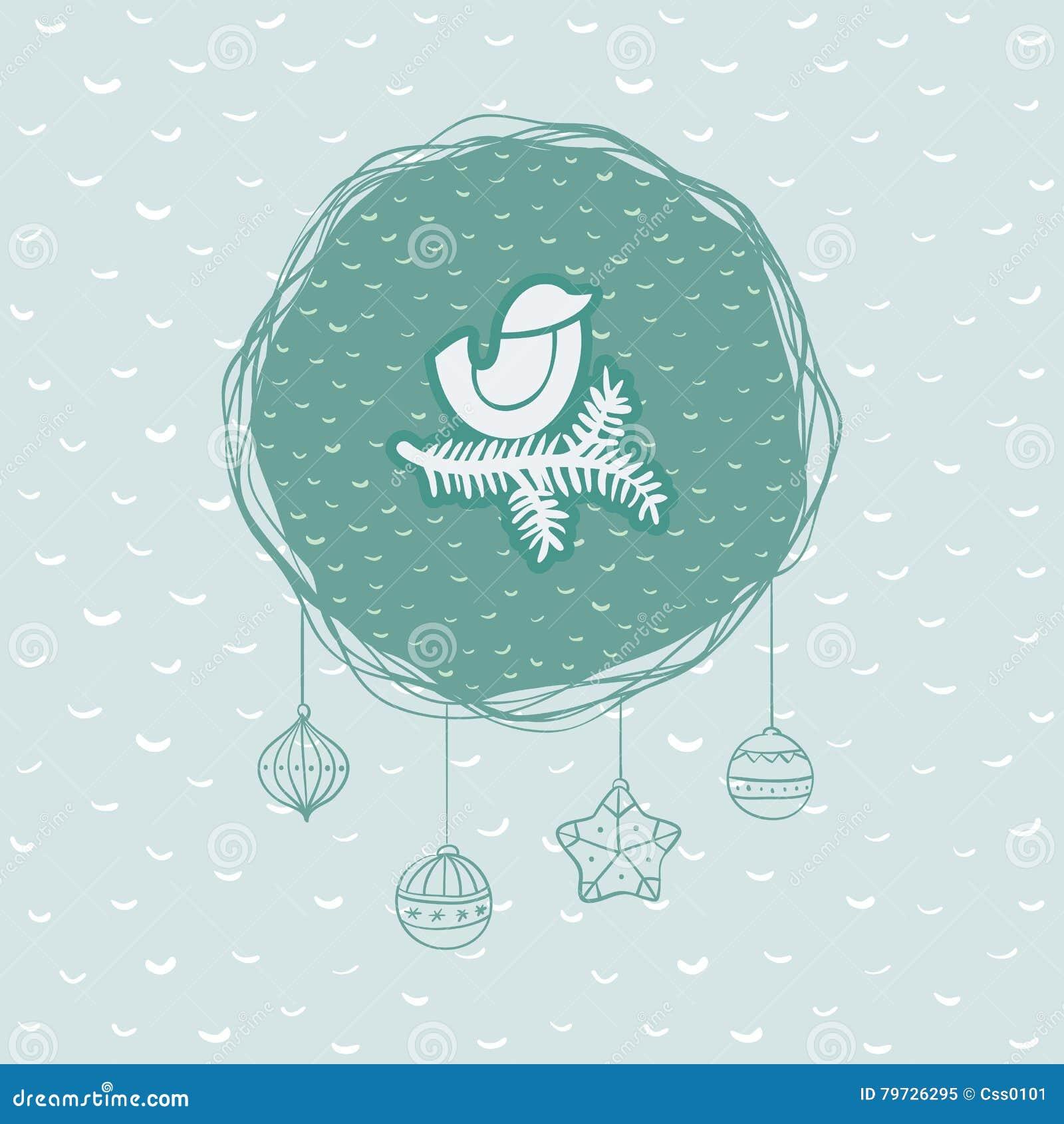 Marco redondo de la Navidad y del Año Nuevo con el pájaro en símbolo de la rama Tarjeta de felicitación