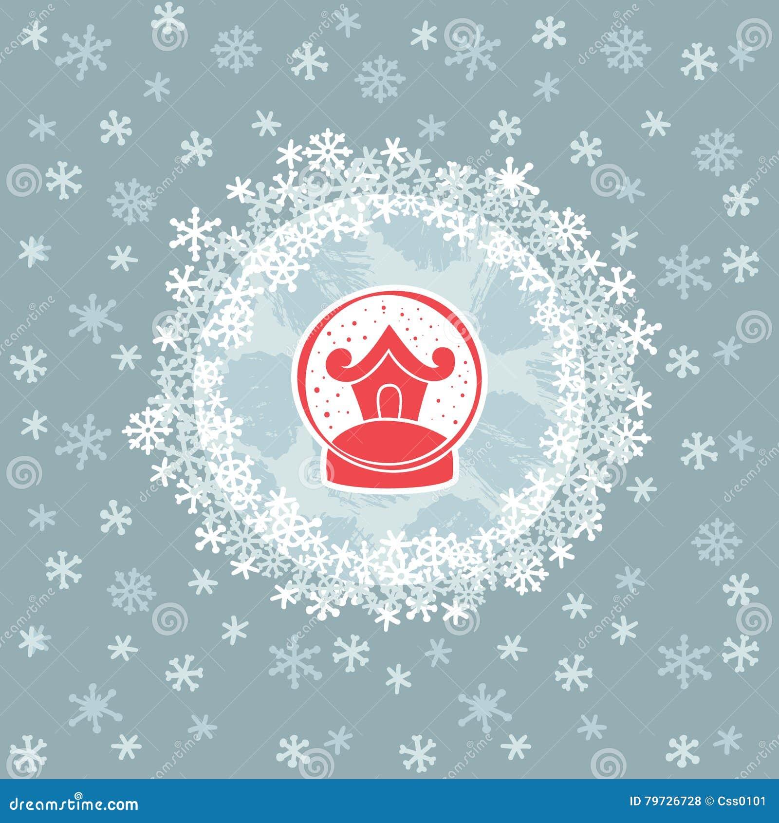Marco redondo de la Navidad y del Año Nuevo con símbolo de la bola de la nieve Tarjeta de felicitación