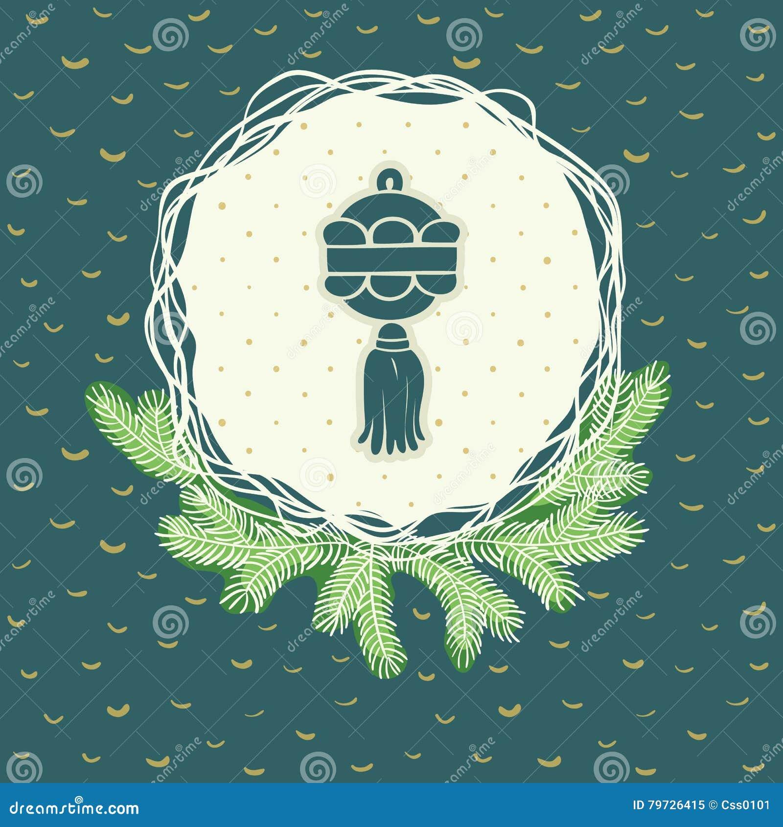 Marco redondo de la Navidad y del Año Nuevo con símbolo de la bola Tarjeta de felicitación