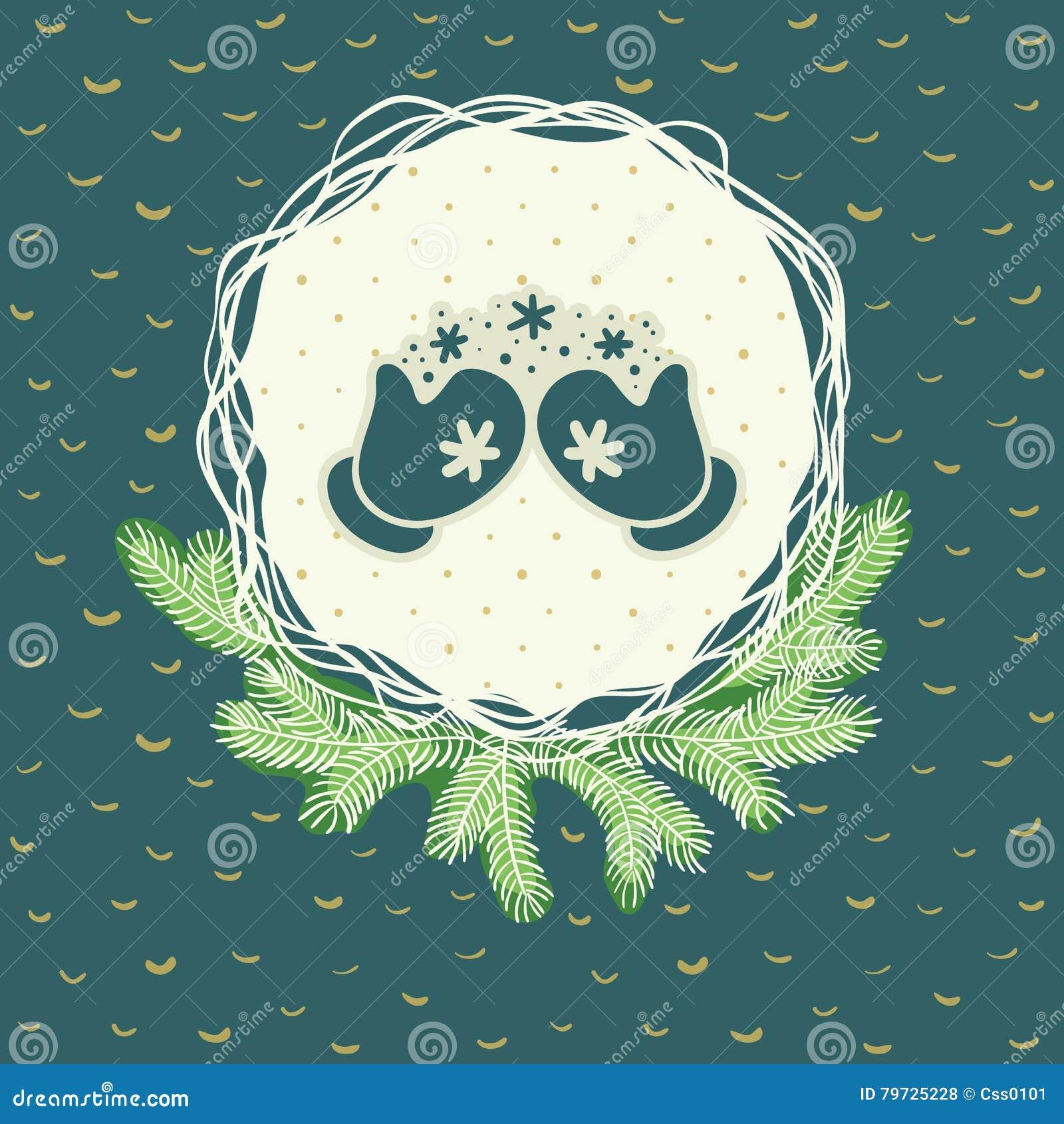 Marco redondo de la Navidad y del Año Nuevo con símbolo de los guantes Tarjeta de felicitación
