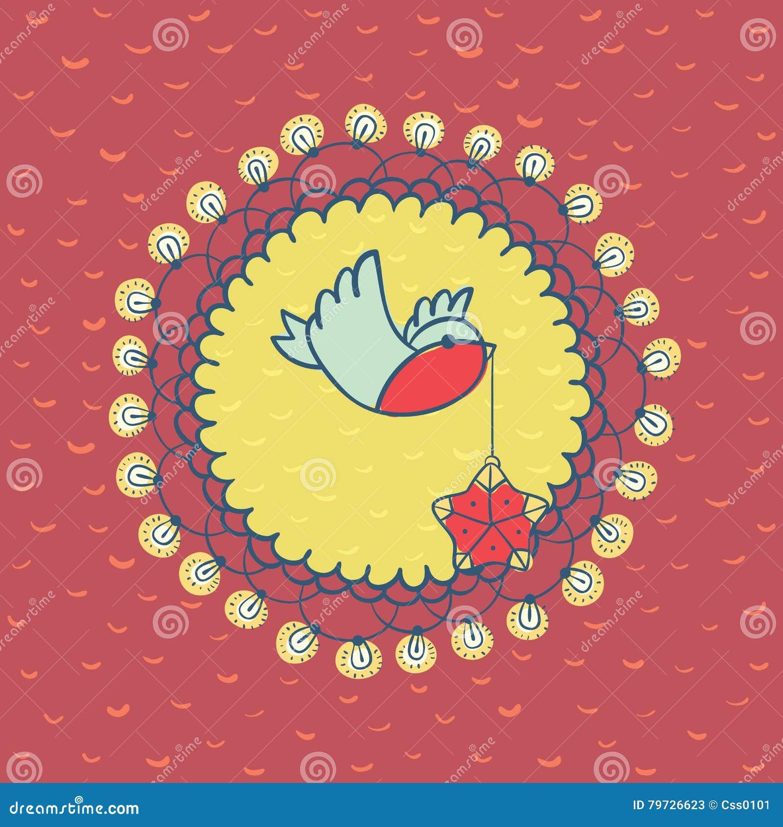 Marco redondo de la Navidad y del Año Nuevo con símbolo del pájaro Tarjeta de felicitación