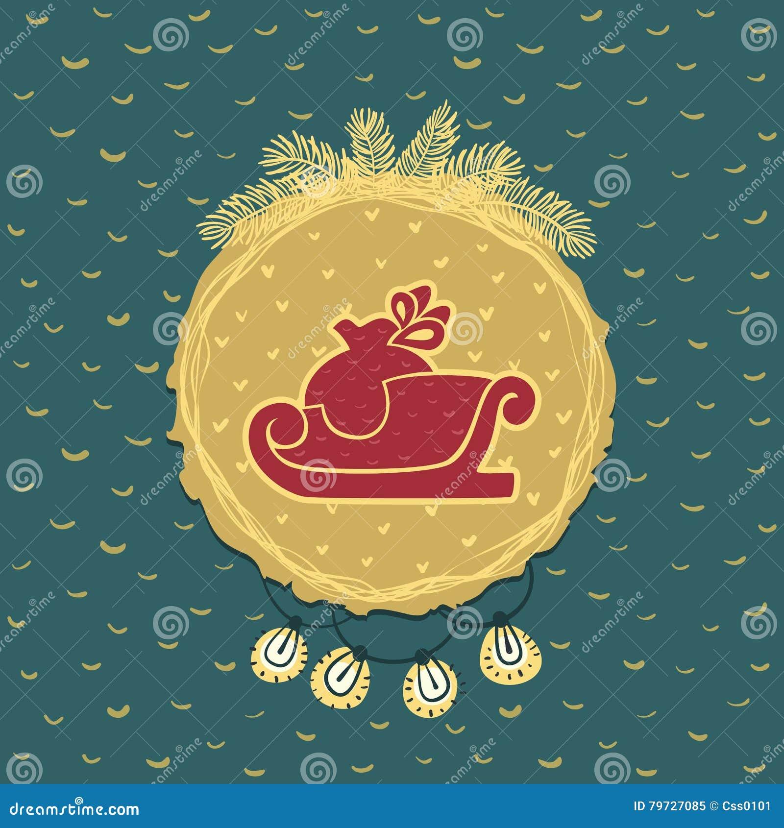 Marco redondo de la Navidad y del Año Nuevo con símbolo del trineo Tarjeta de felicitación