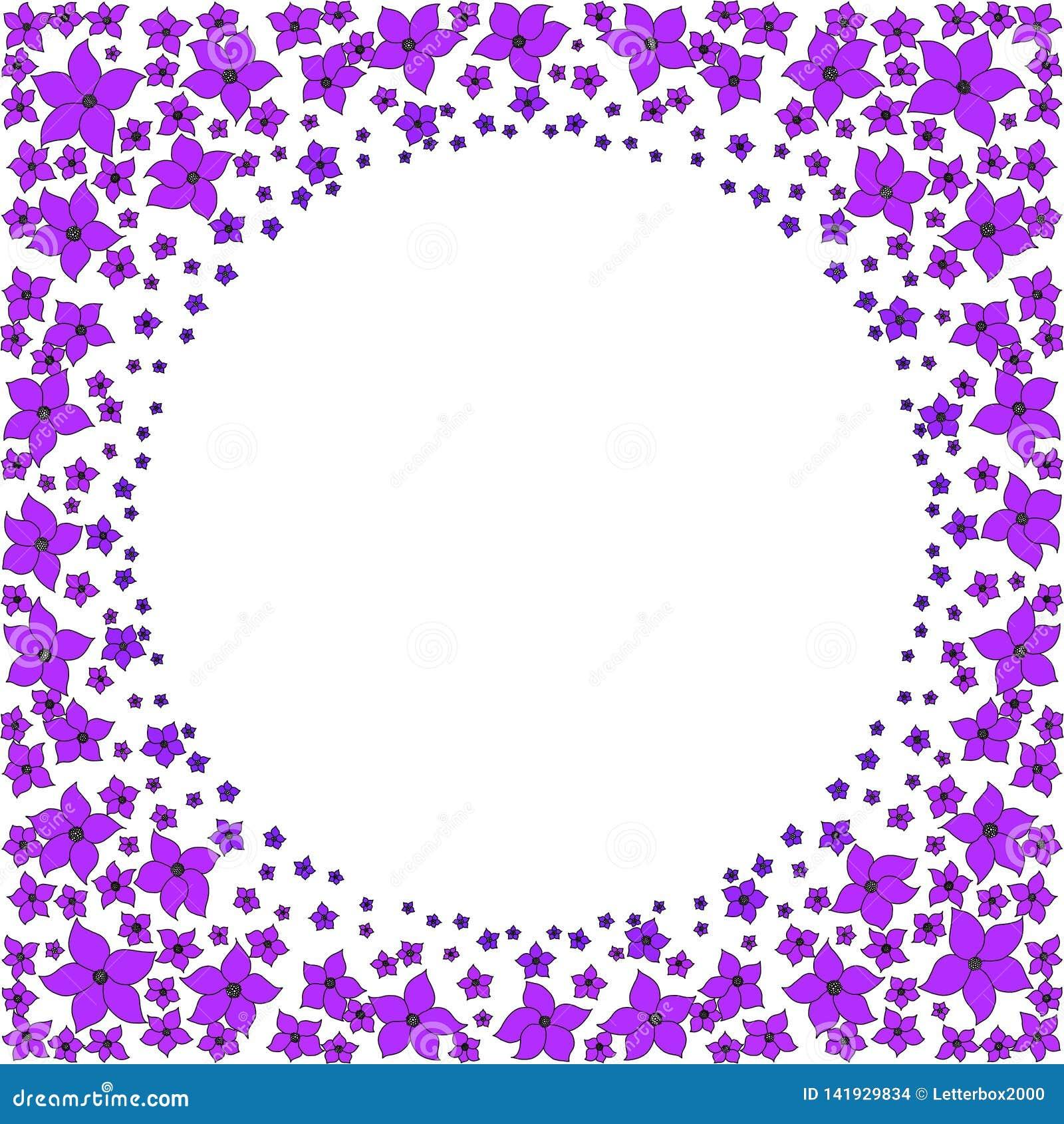 Marco redondo de pequeñas flores púrpuras