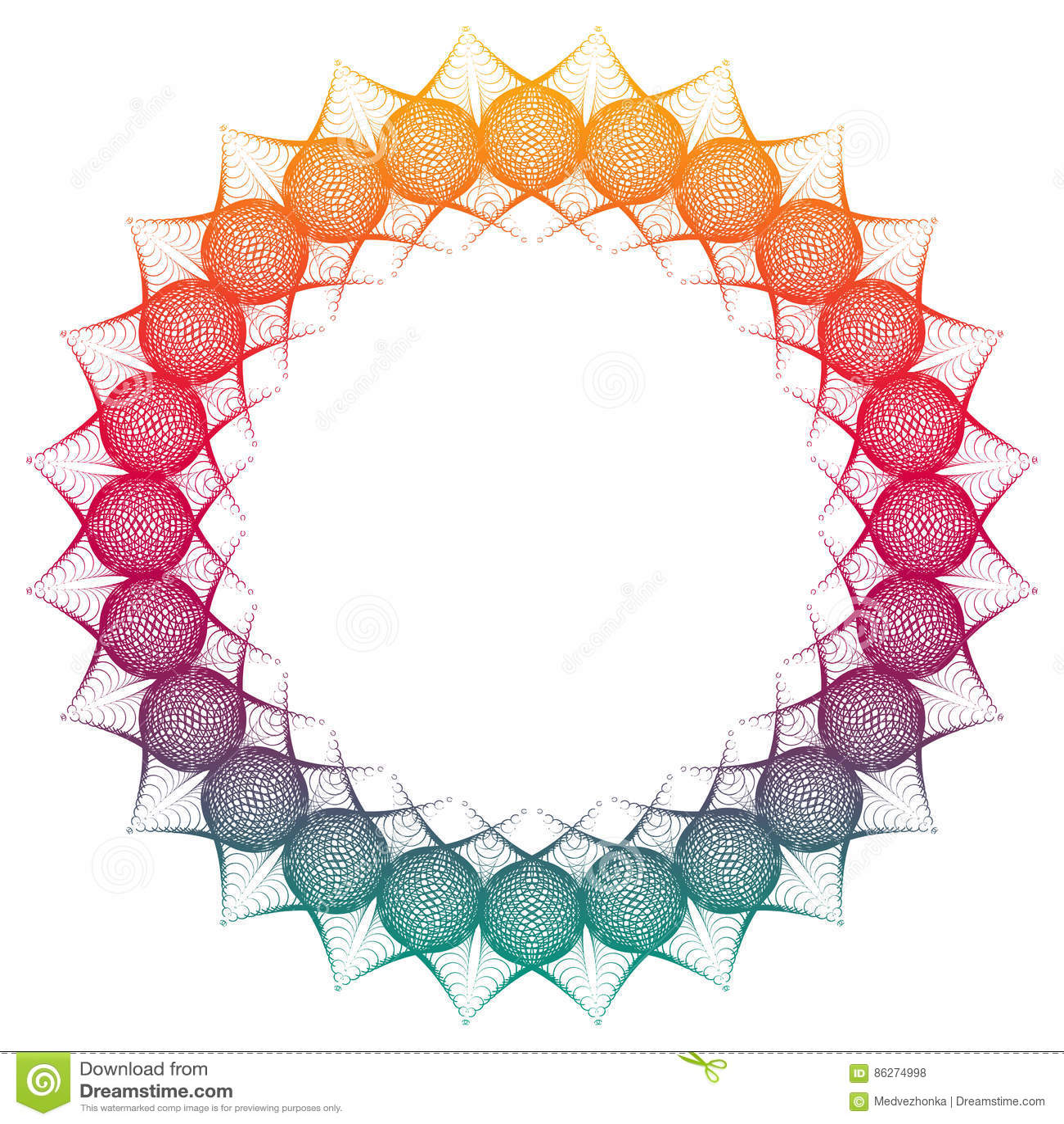 Marco redondo del extracto del color de la pendiente Copie el espacio Clip art de la trama