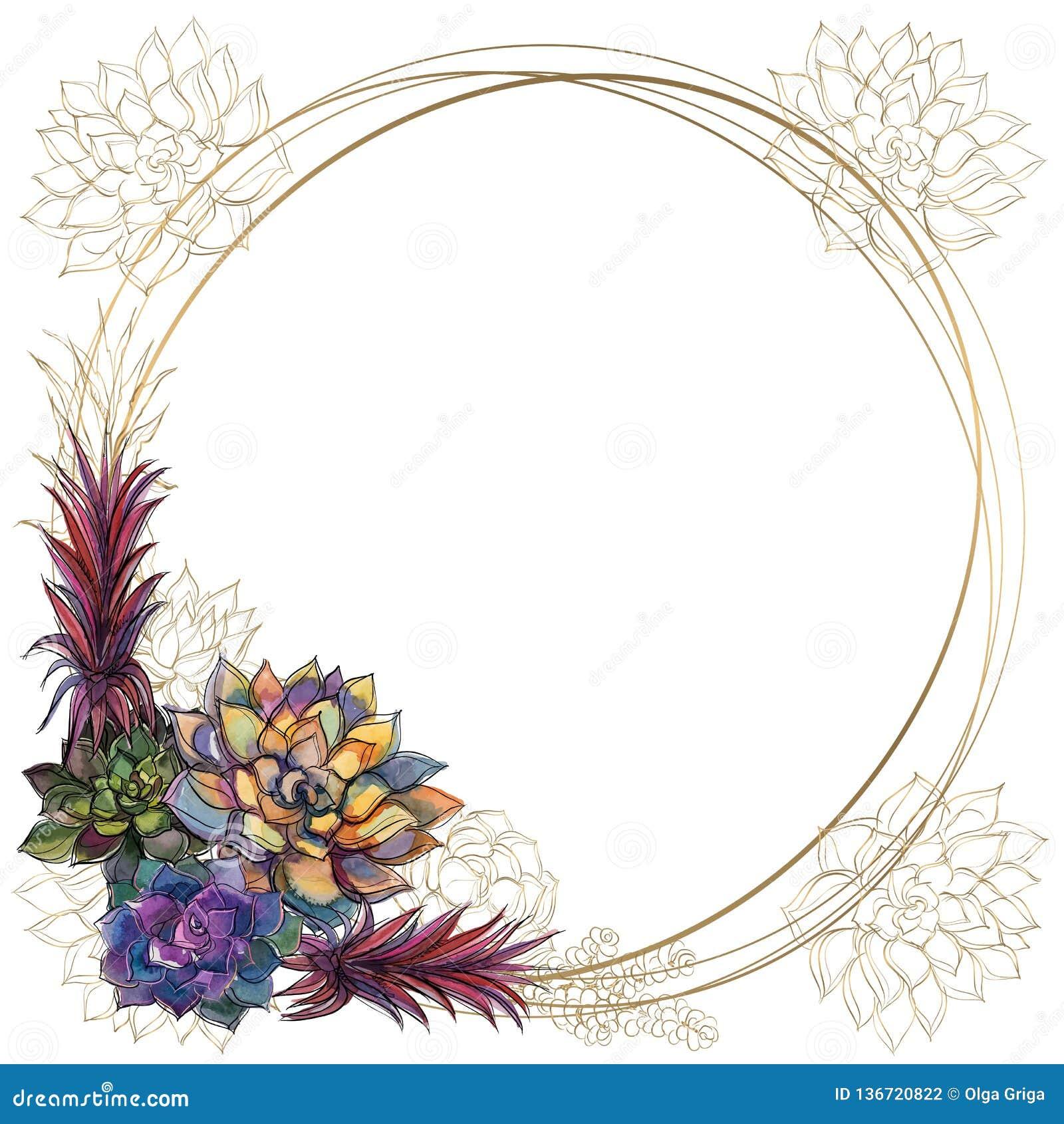 Marco redondo del oro con los succulents Vector watercolor gráficos