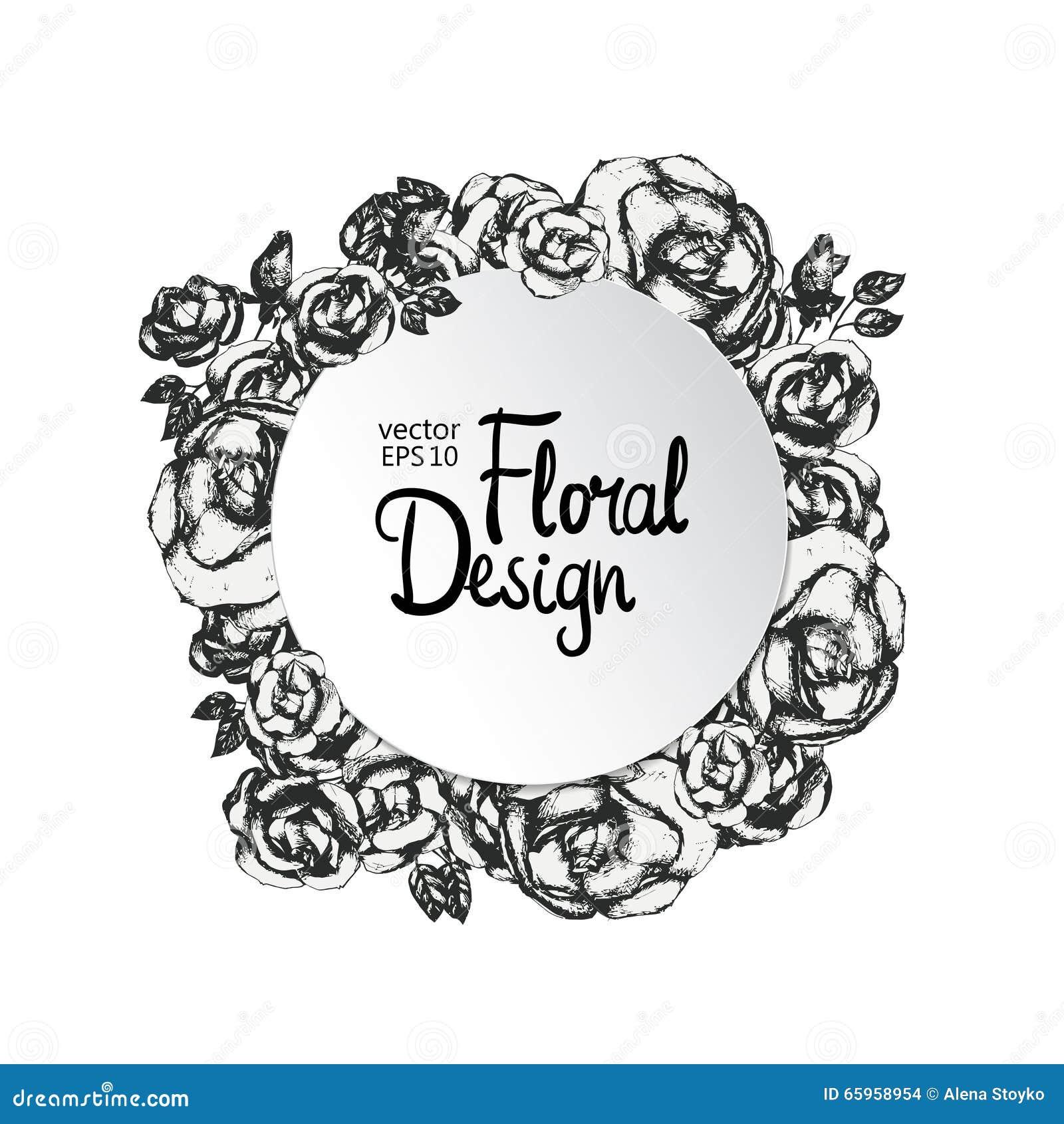 927c25c64 Marco floral del vector del vintage Rebecca 36 Flores a mano Marco y lugar  del círculo de Rose para su texto