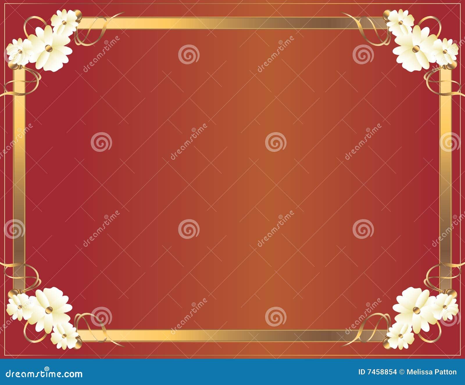 Marco rojo de la flor del oro